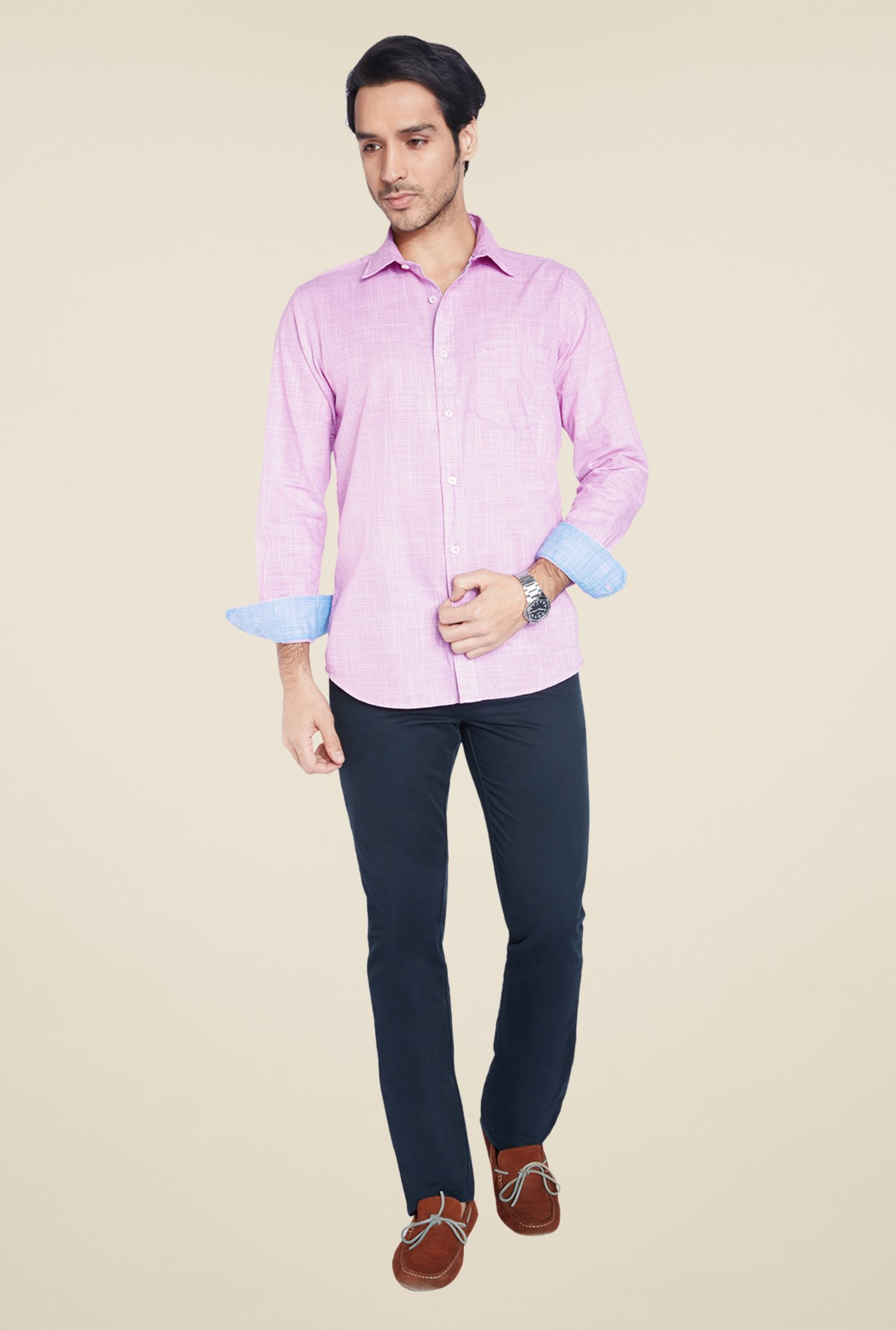 ColorPlus Purple Textured Shirt