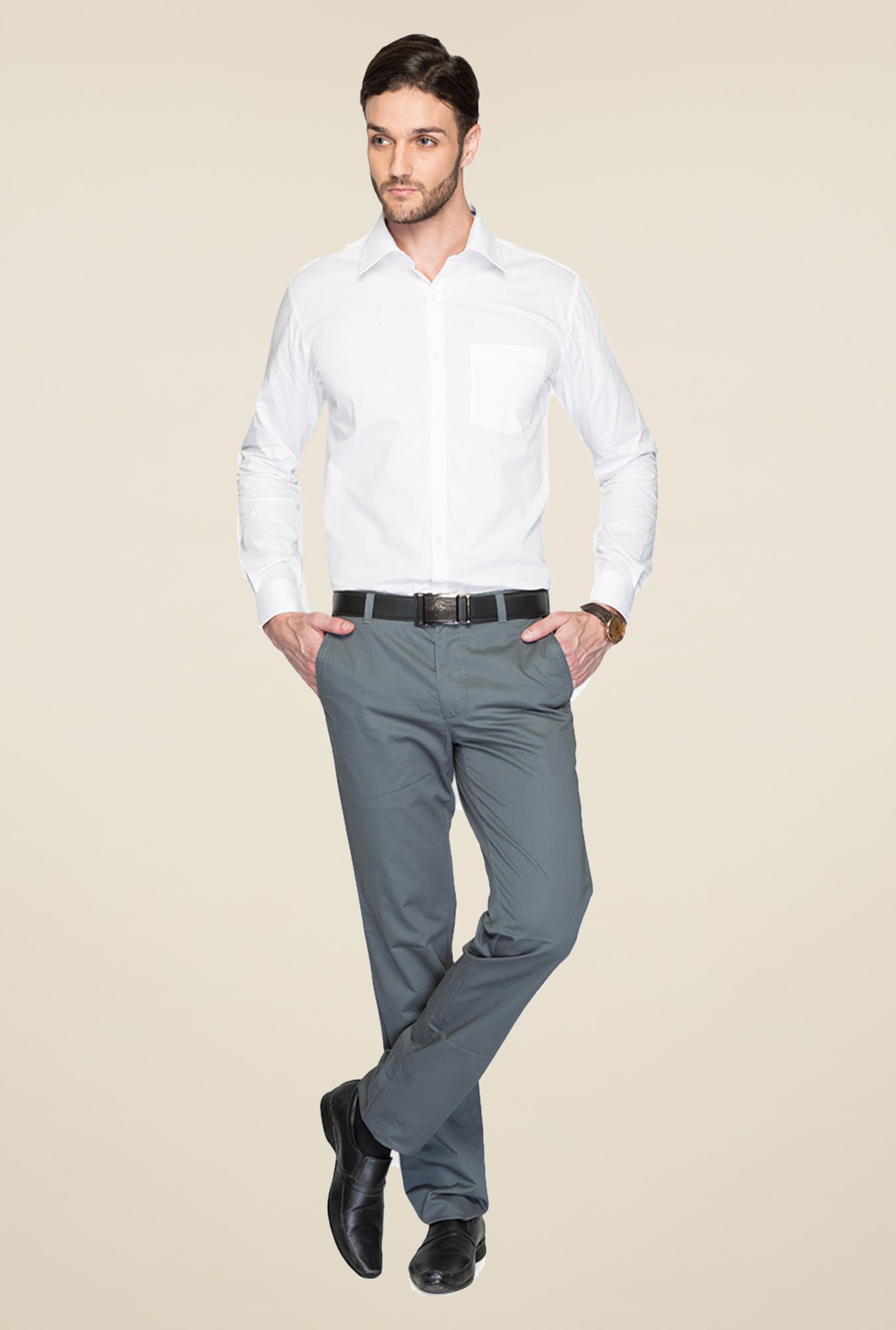 Park Avenue White Solid Cotton Shirt