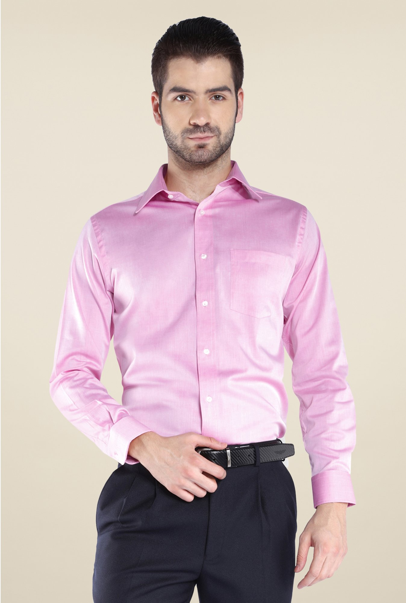 Park Avenue Pink Solid Cotton Shirt