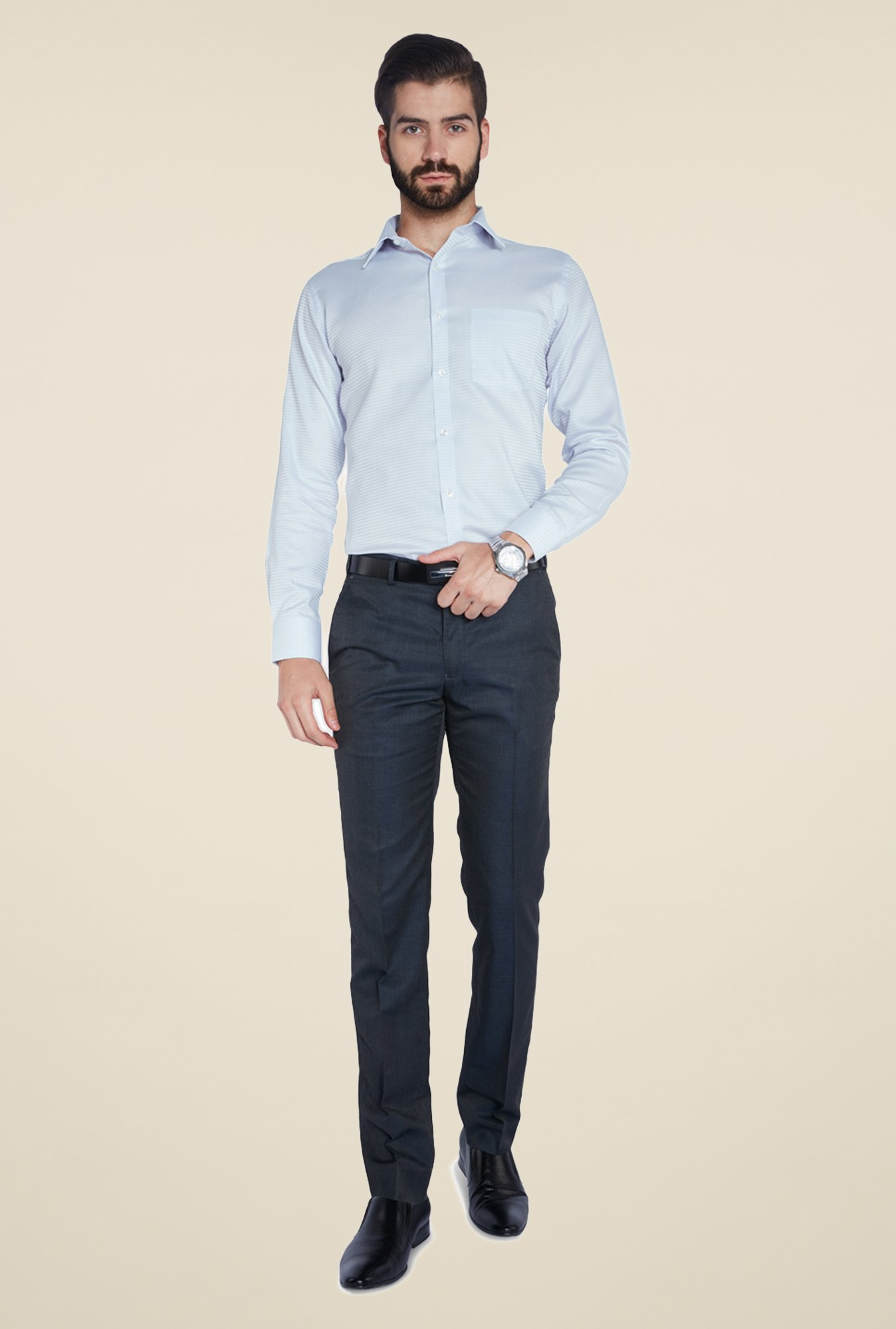 Park Avenue Blue Self Print Cotton Shirt