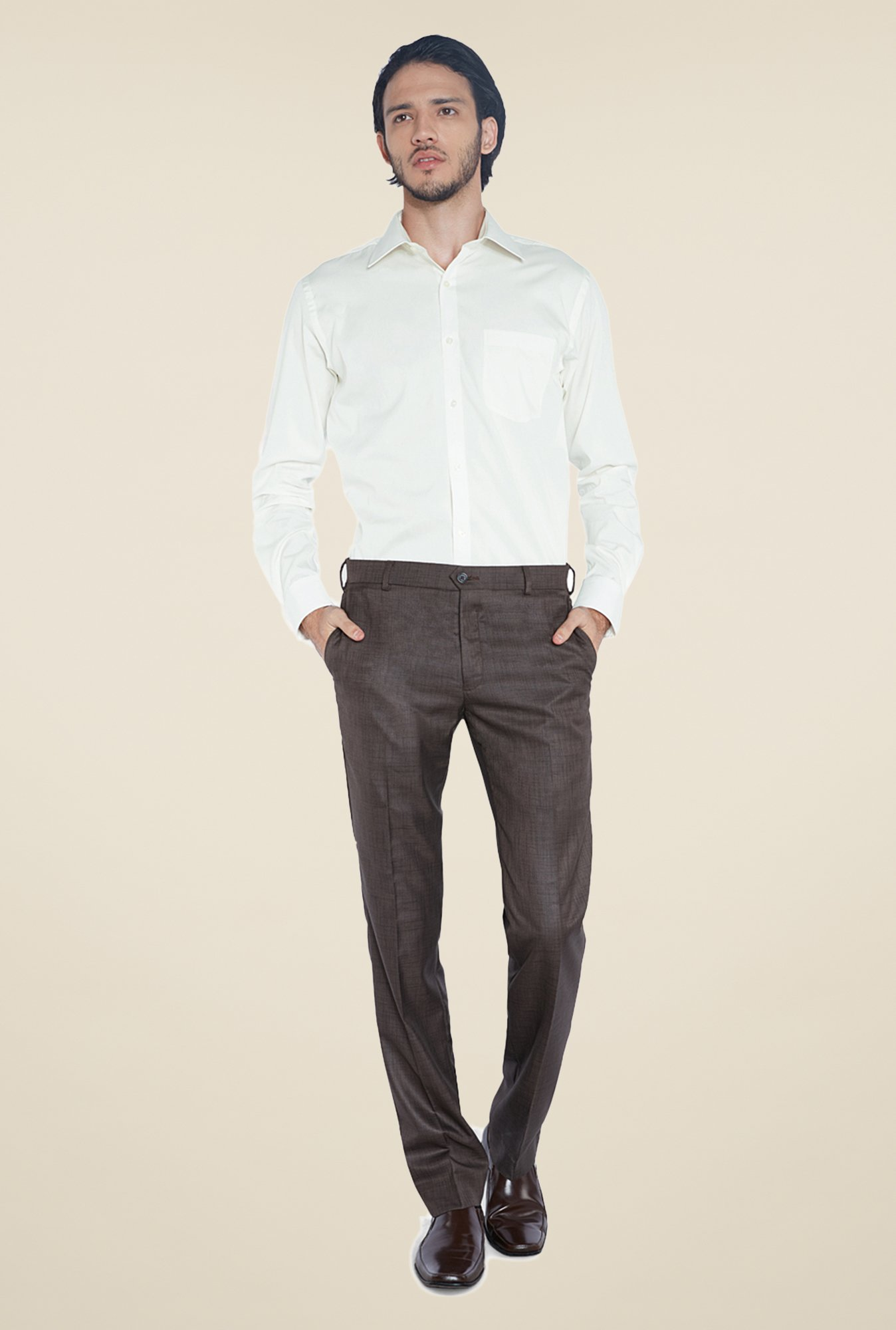 Park Avenue Cream Solid Cotton Shirt