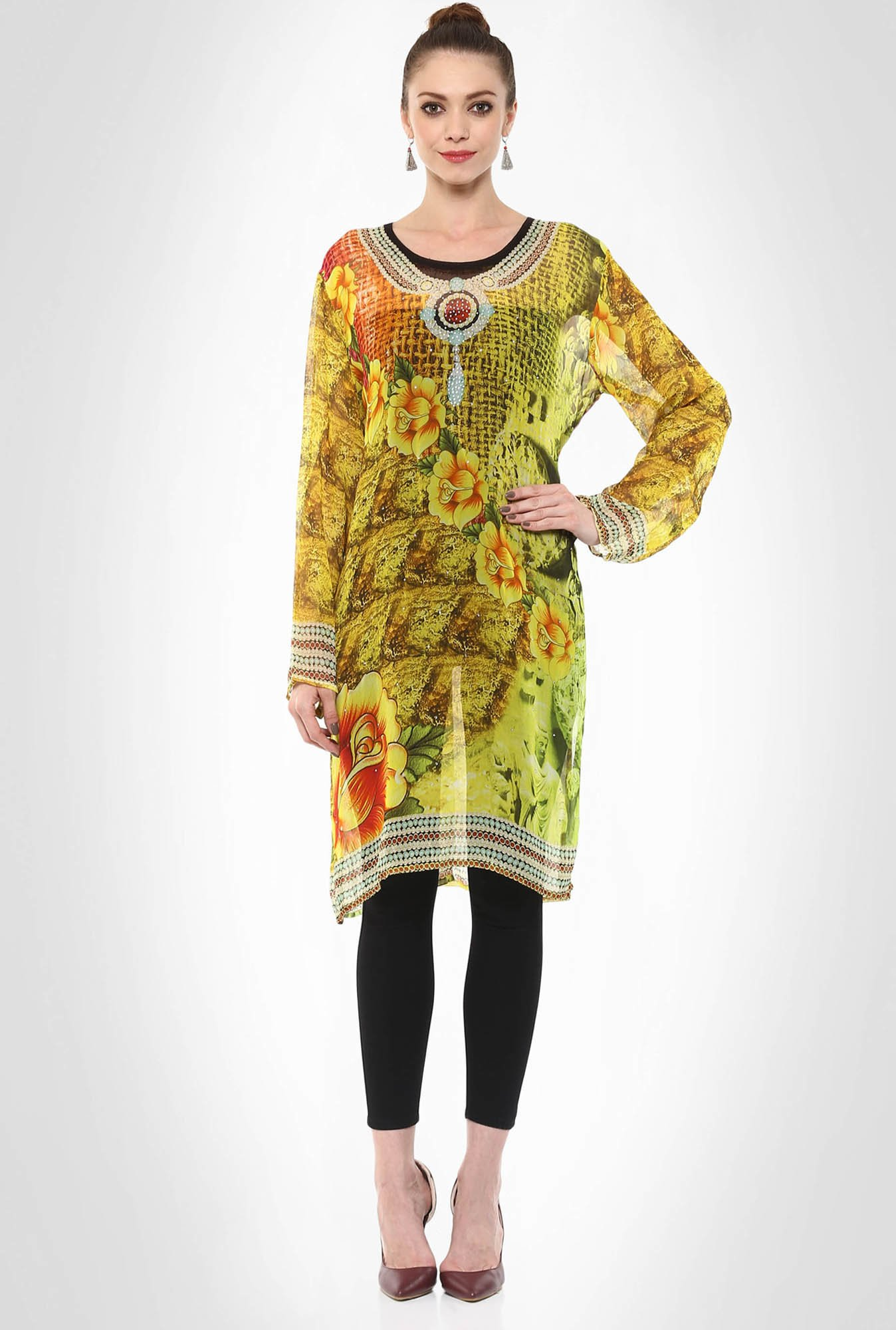 Rubina K Designer Wear Bright Yellow Printed Kurti By Kimaya