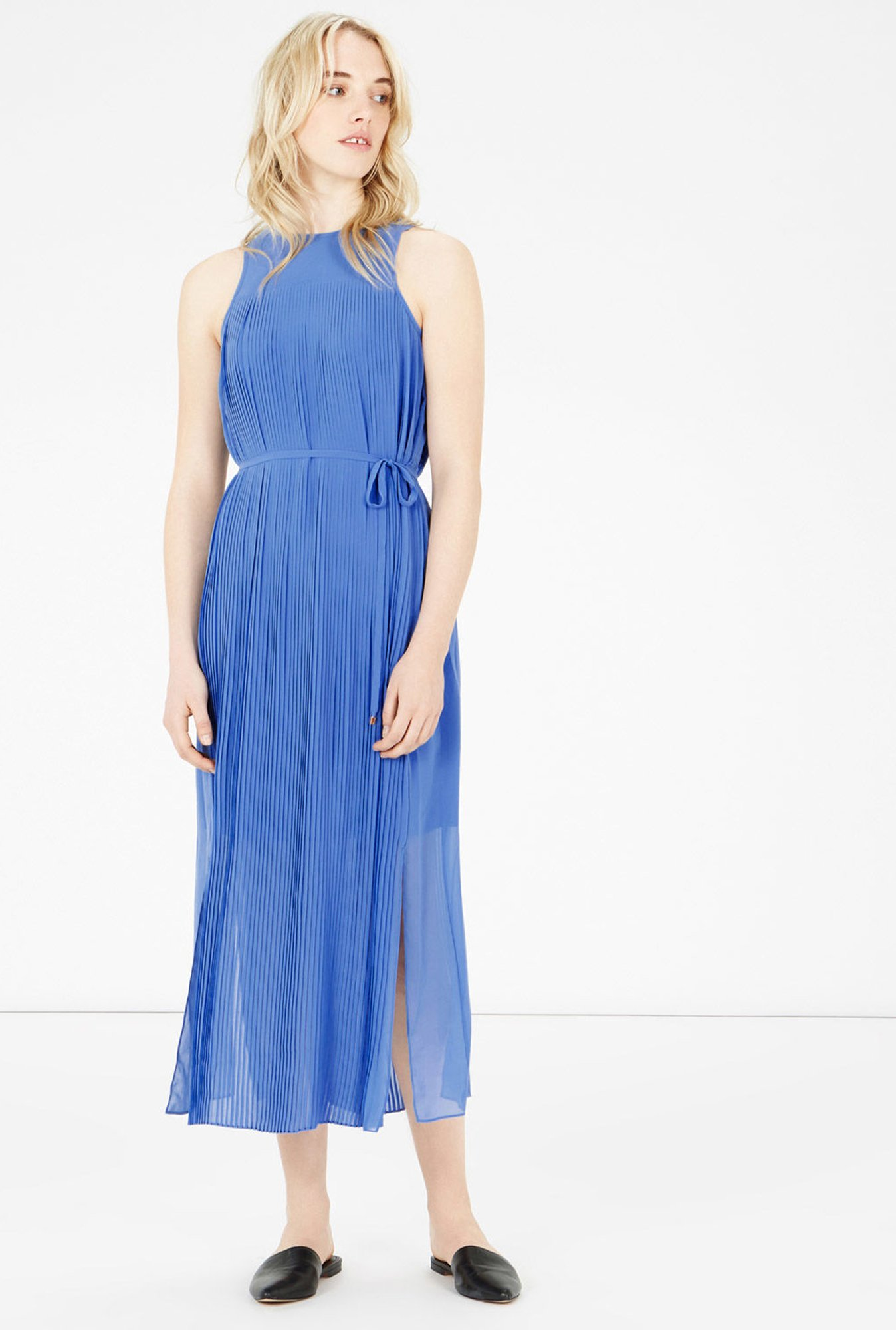 Warehouse Blue Solid Midi Dress