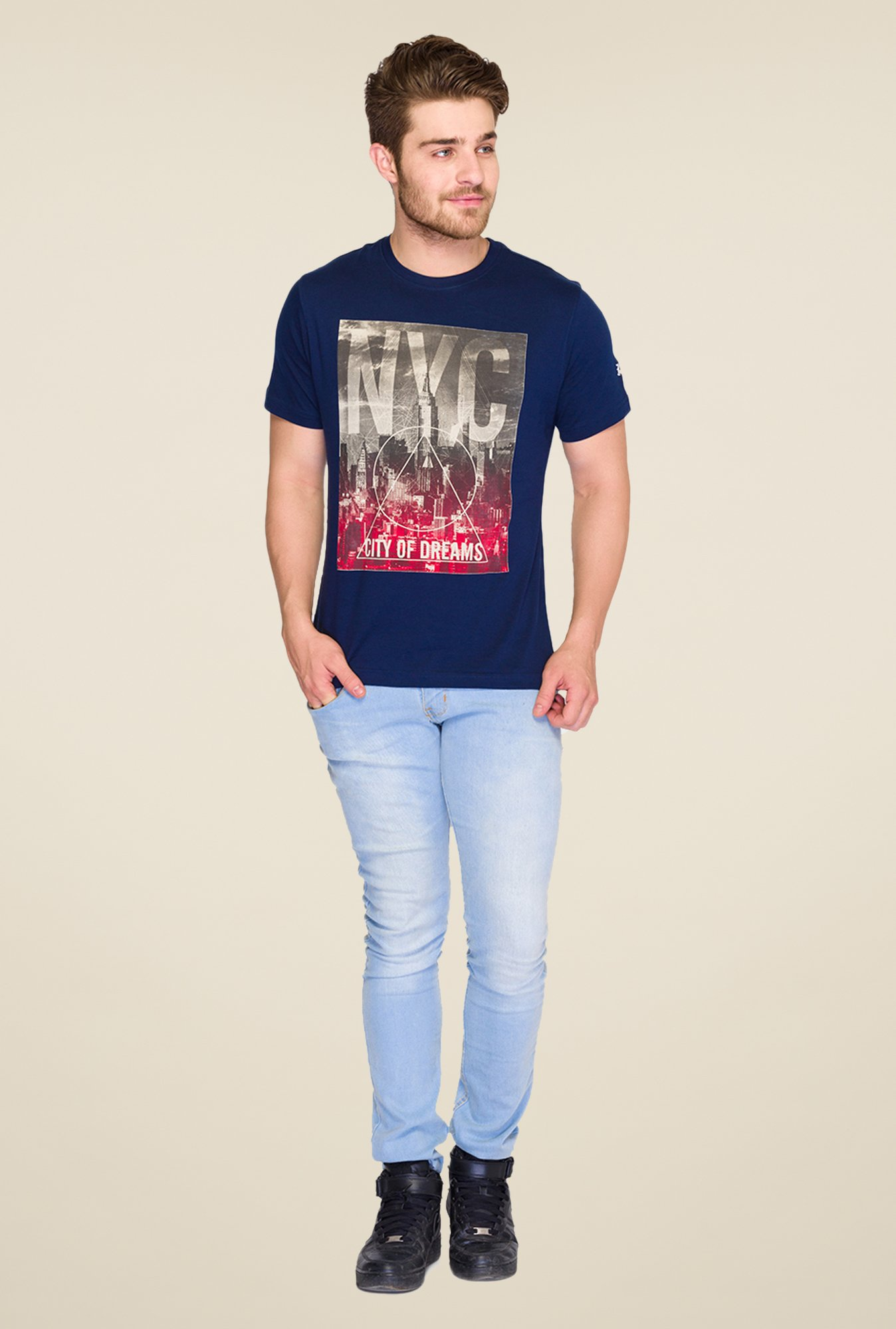 Parx Dark Blue Graphic Printed T Shirt