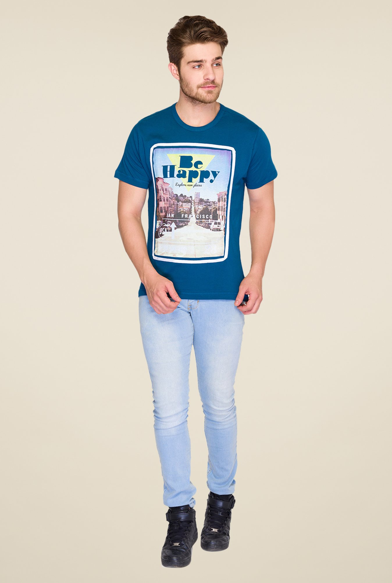 Parx Blue Graphic Printed T Shirt