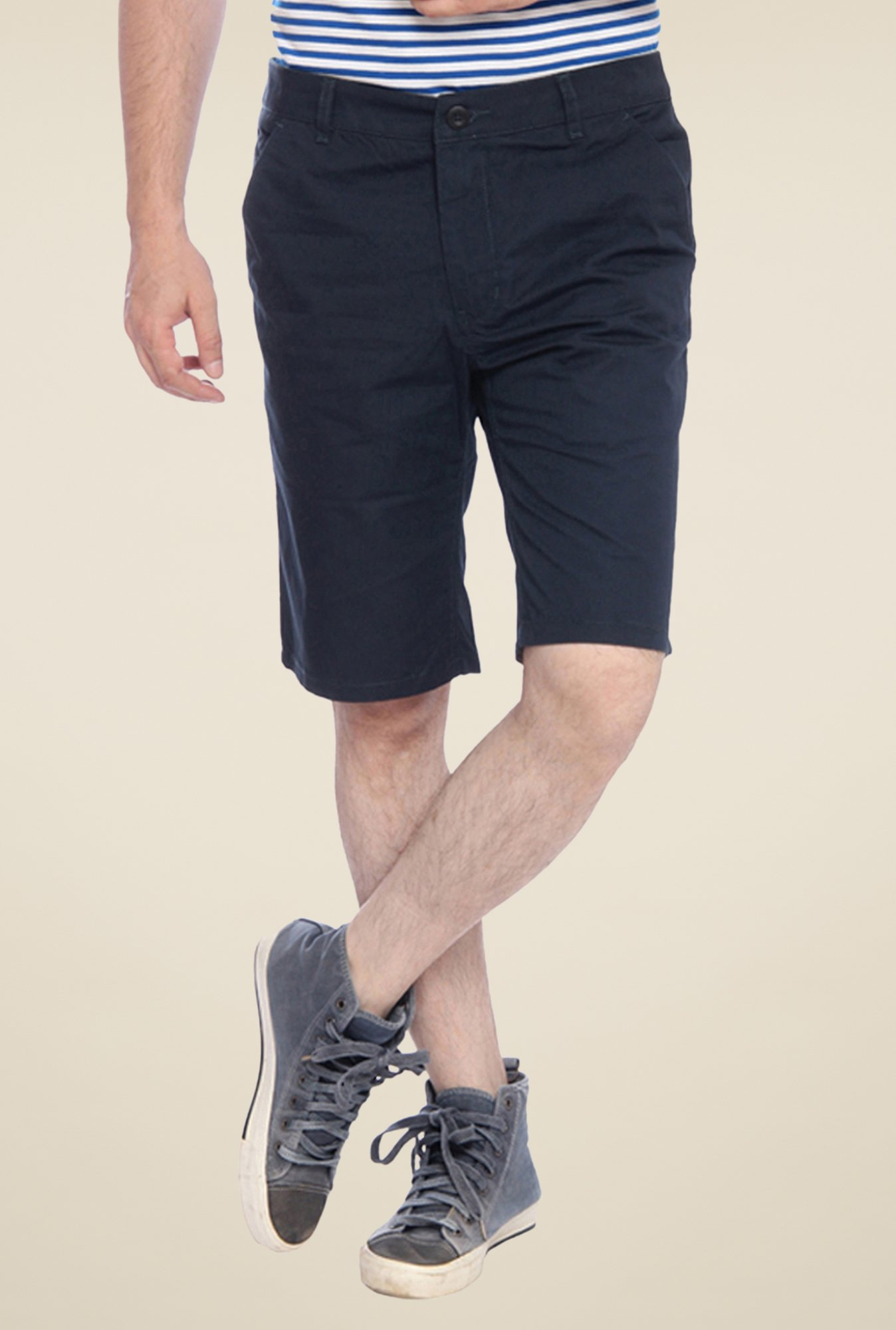 Parx Navy Solid Shorts