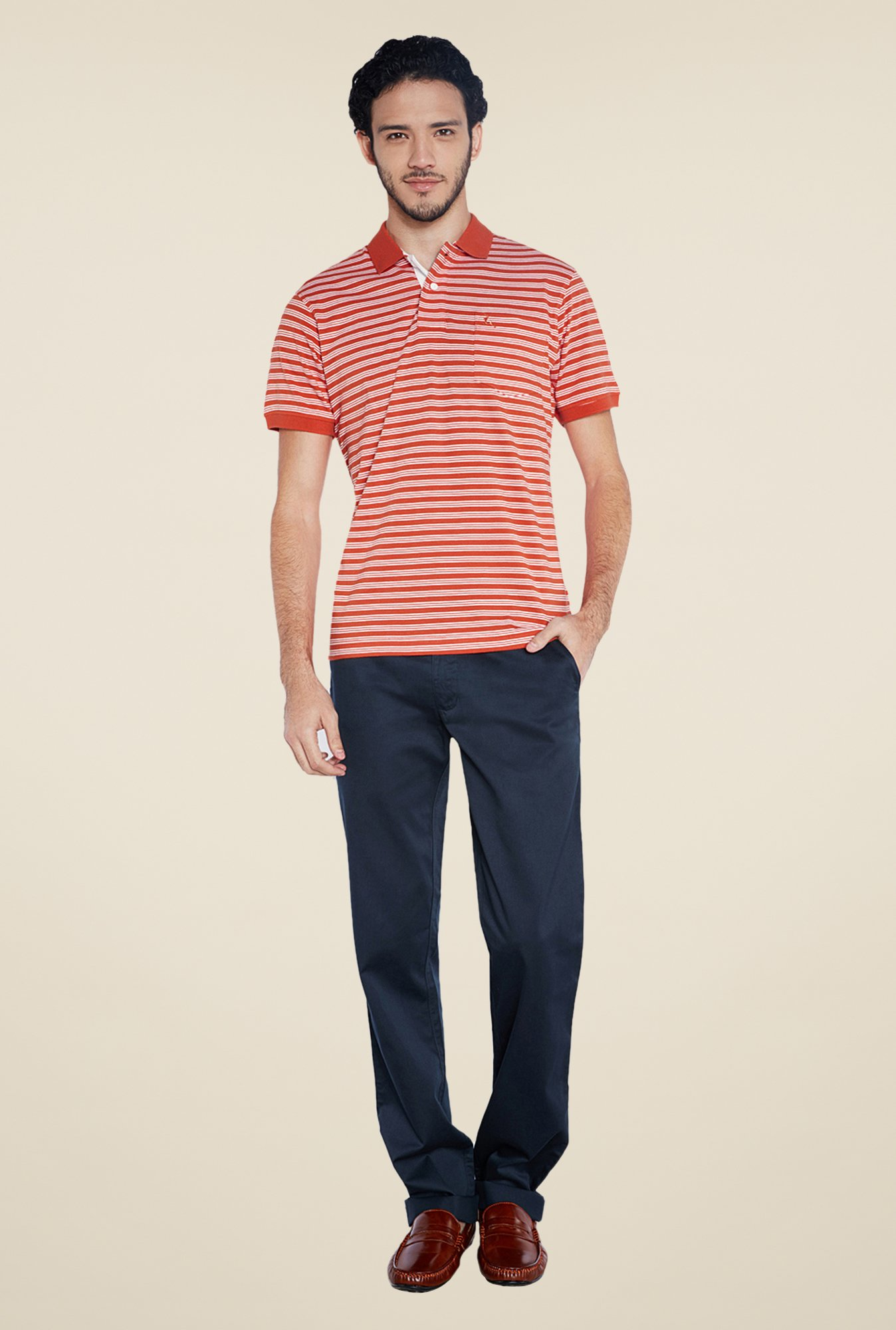 Parx Orange Striped Polo T Shirt
