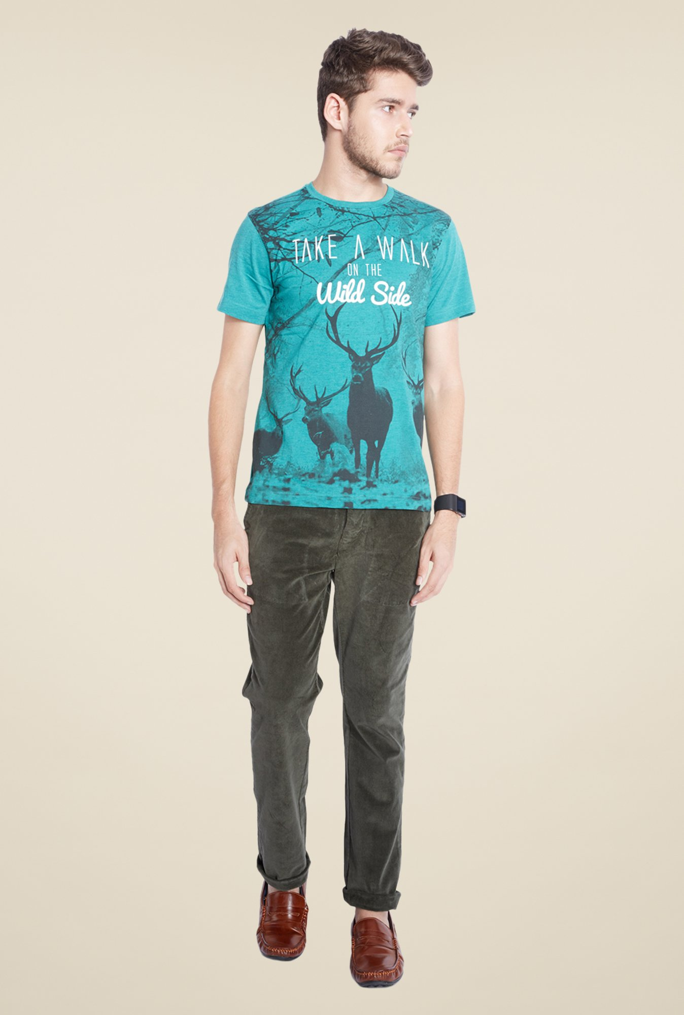 Parx Turquoise Graphic Printed Crew Neck T Shirt