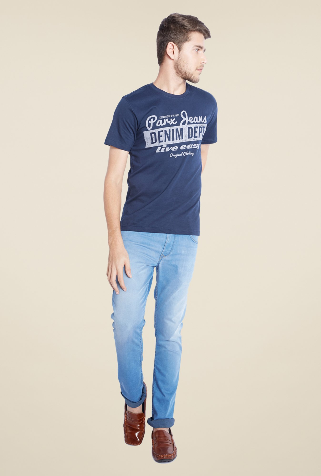Parx Navy Graphic Printed Crew Neck T Shirt