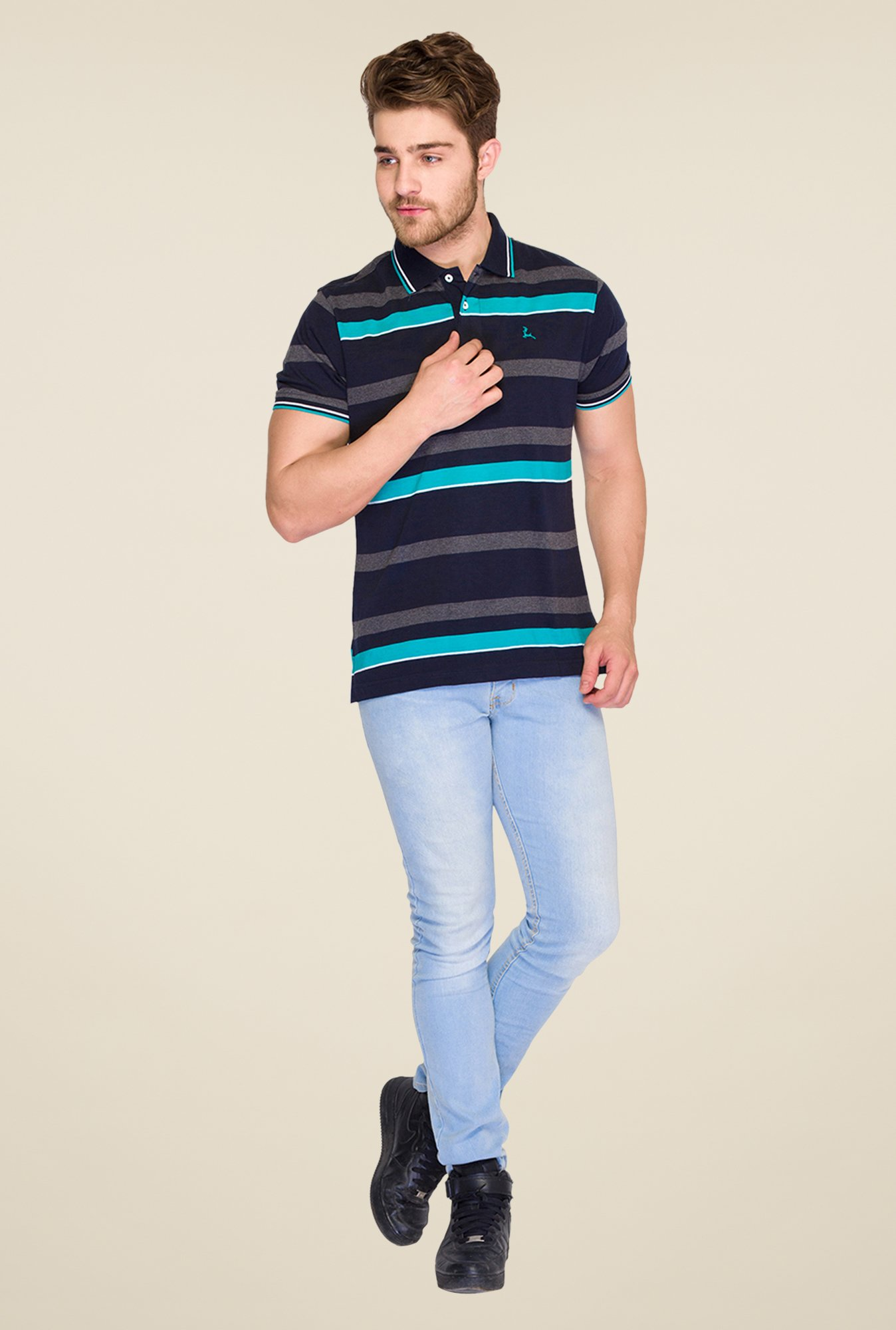 Parx Blue & Black Striped Polo T Shirt