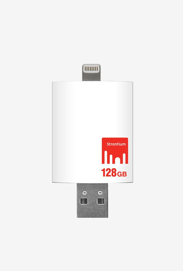 Strontium 128 GB Nitro iDrive (For IOS & Mac/Pc) (White)