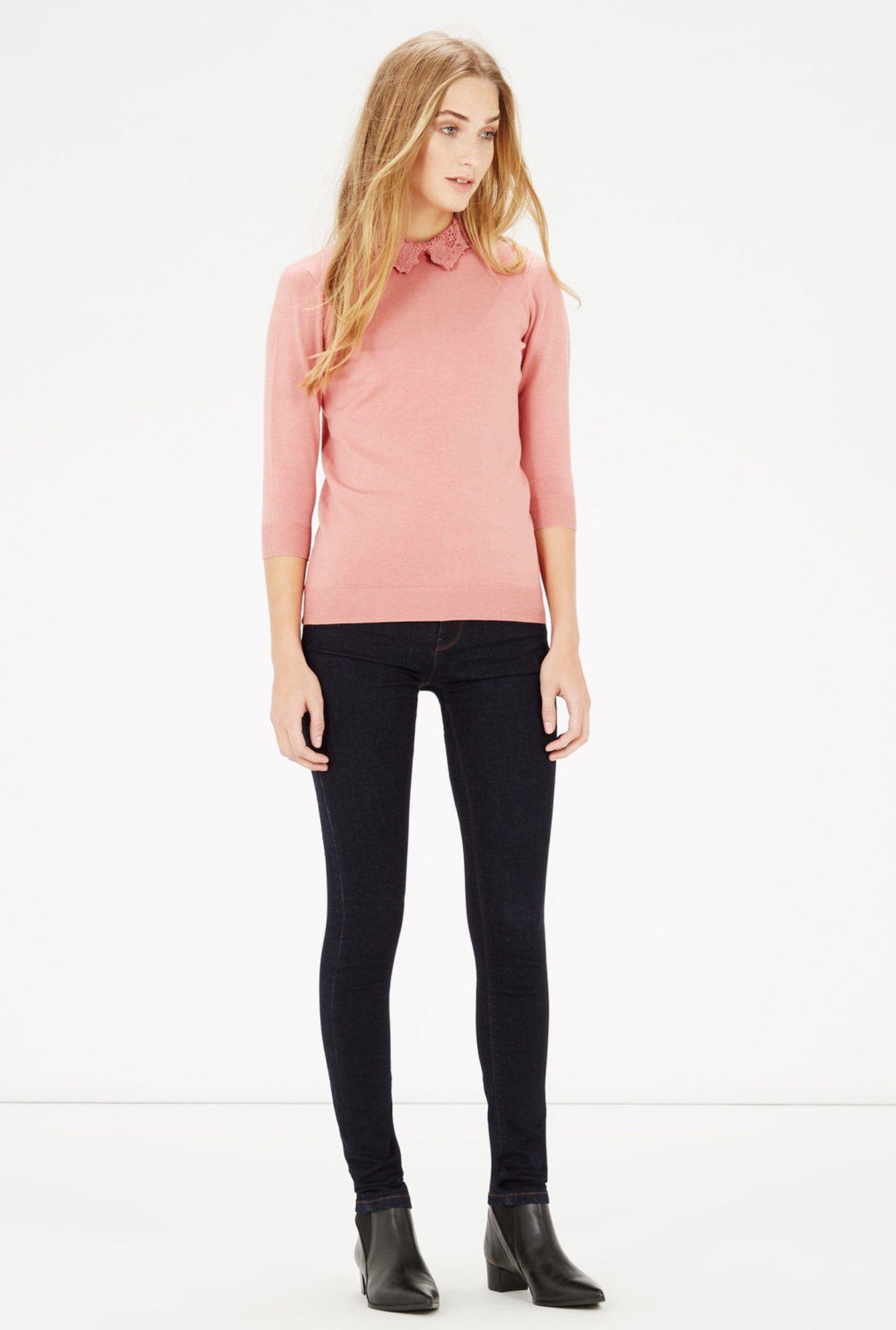 Warehouse Pink Lace Collar Top