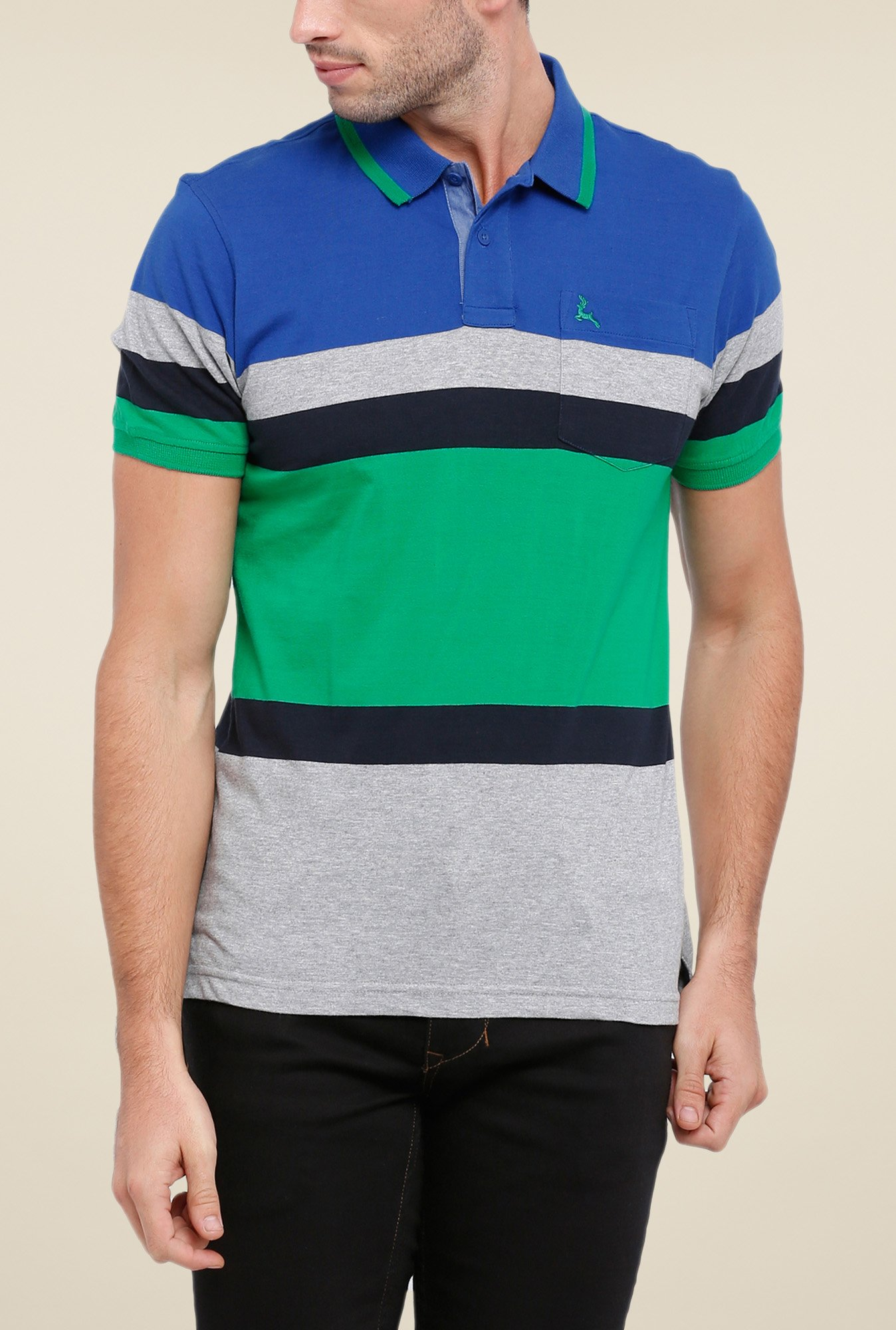 Parx Multicolor Striped Polo T Shirt