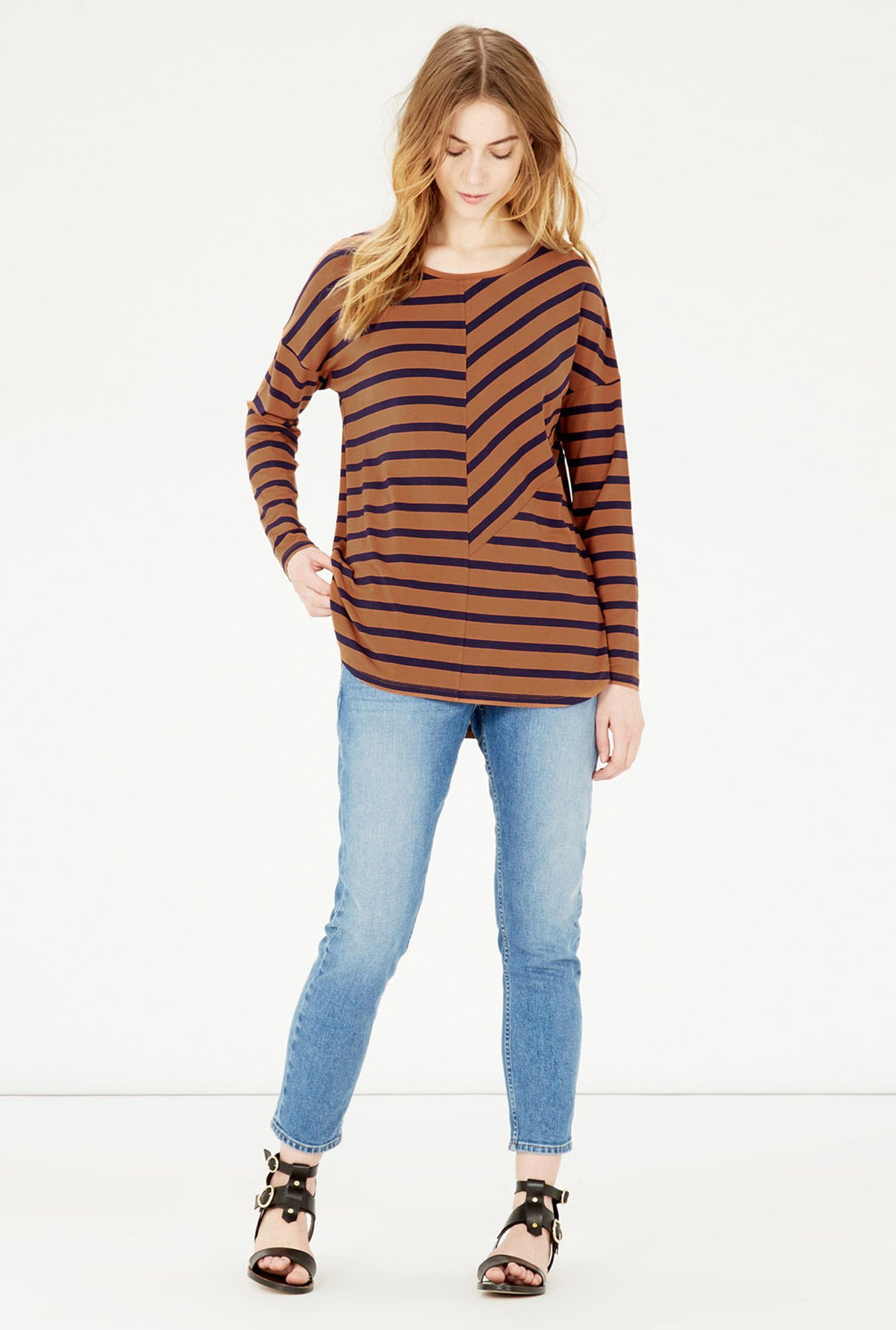 Warehouse Brown Striped Top