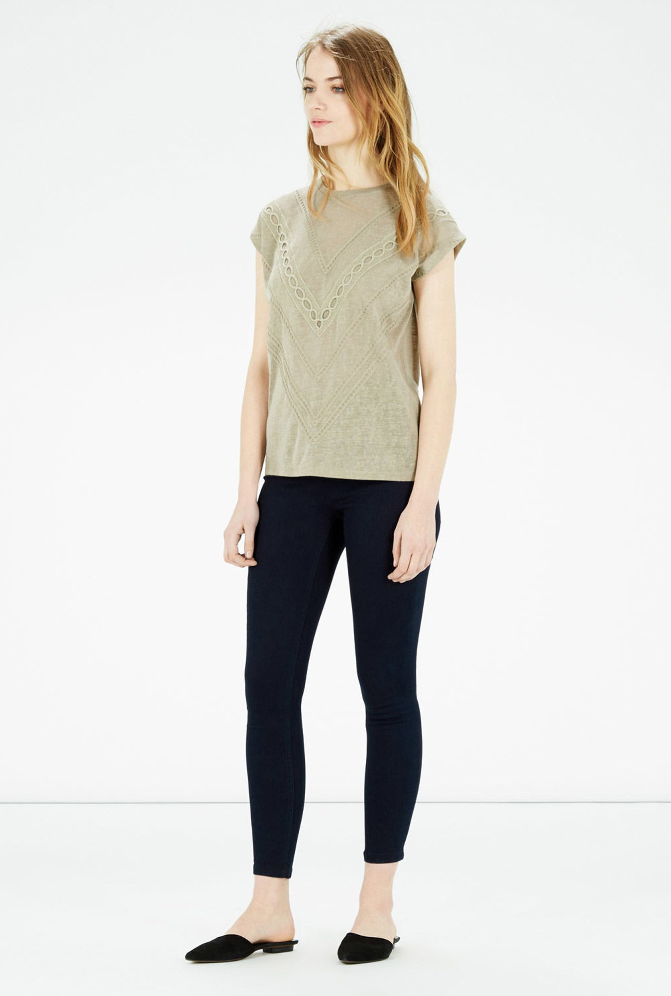 Warehouse Grey Embroidered Top