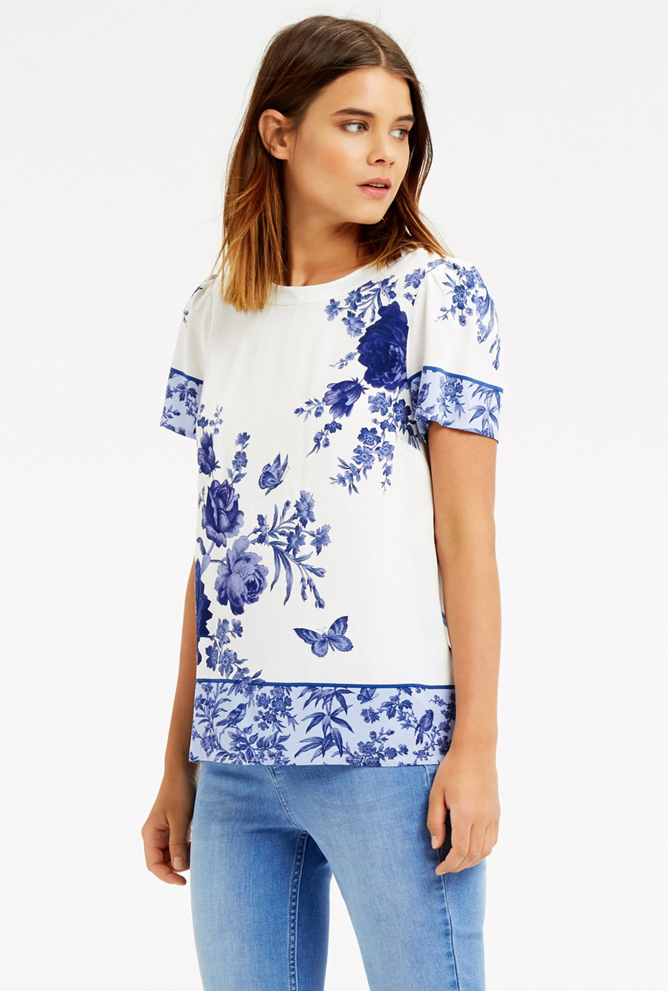 Oasis White & Blue Floral Print Top