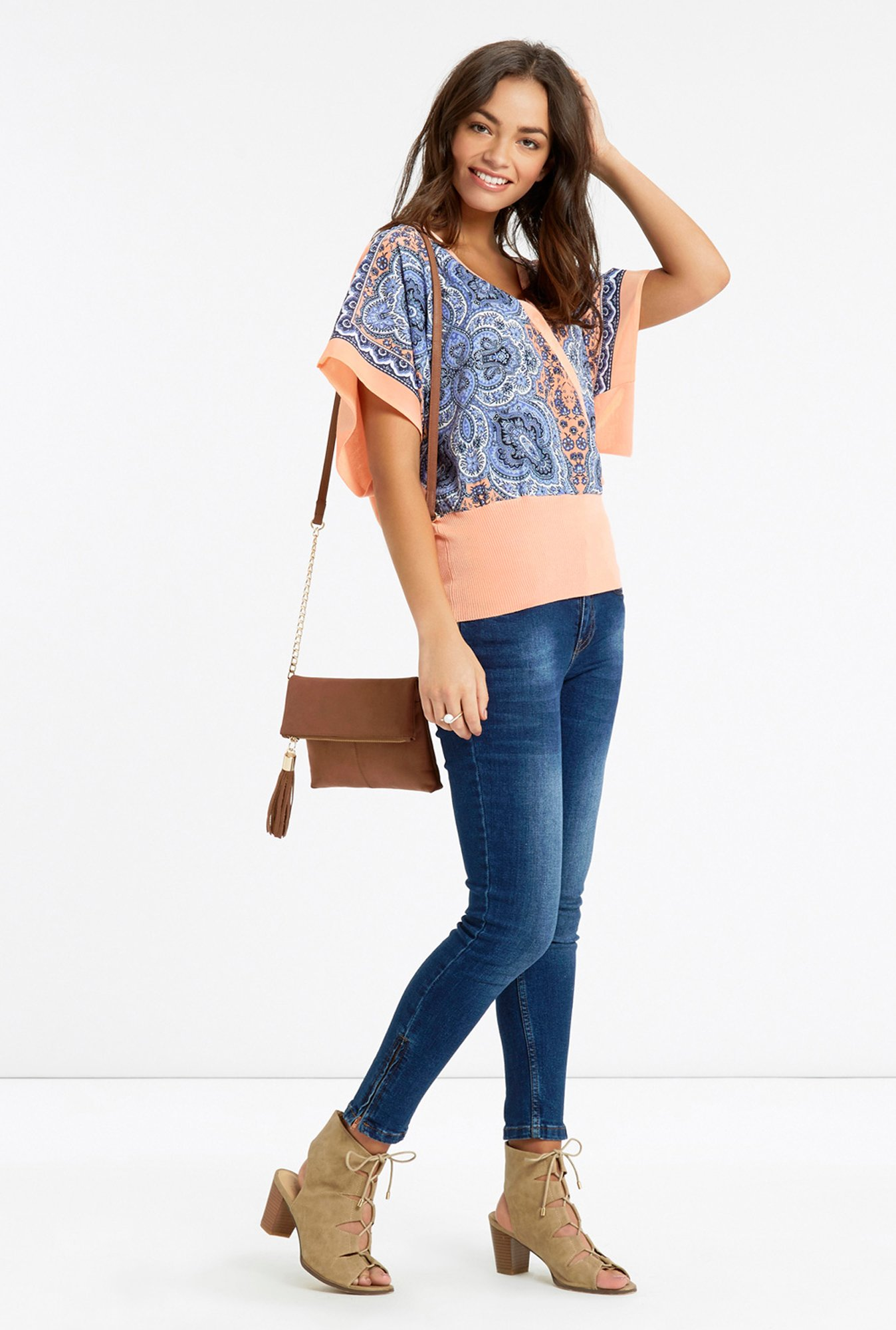 Oasis Peach & Blue Printed Top