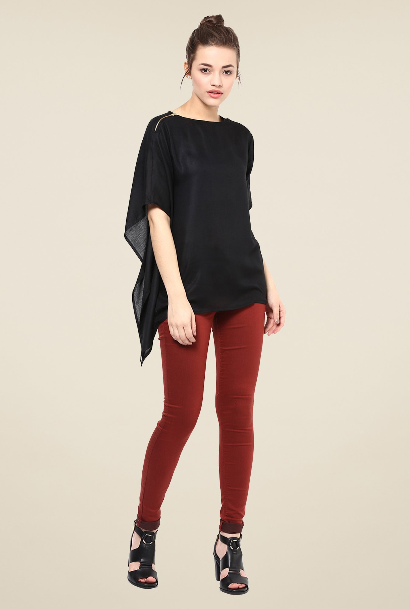 Femella Black Asymmetric Top