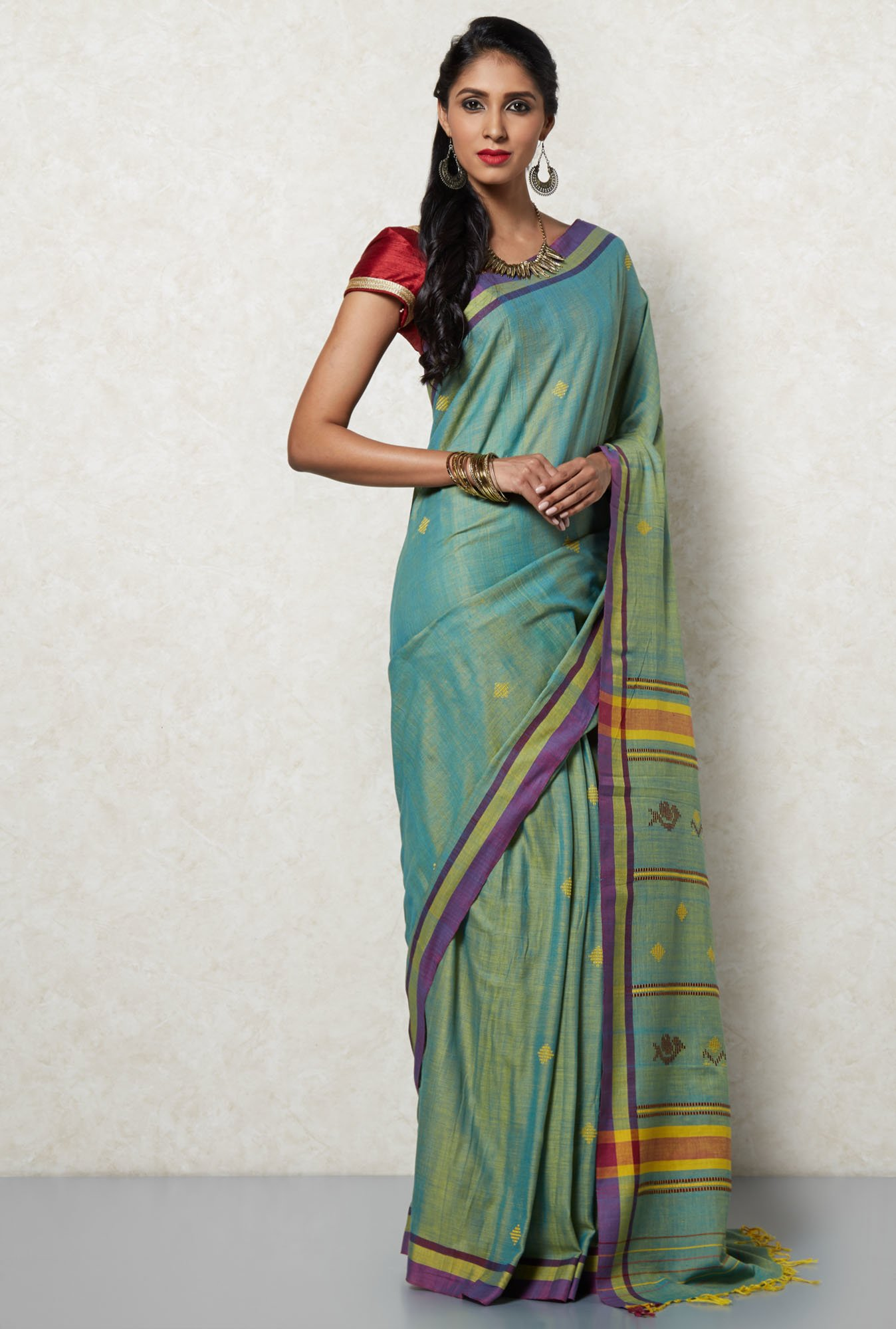 Okhai Green & Violet Cotton Saree