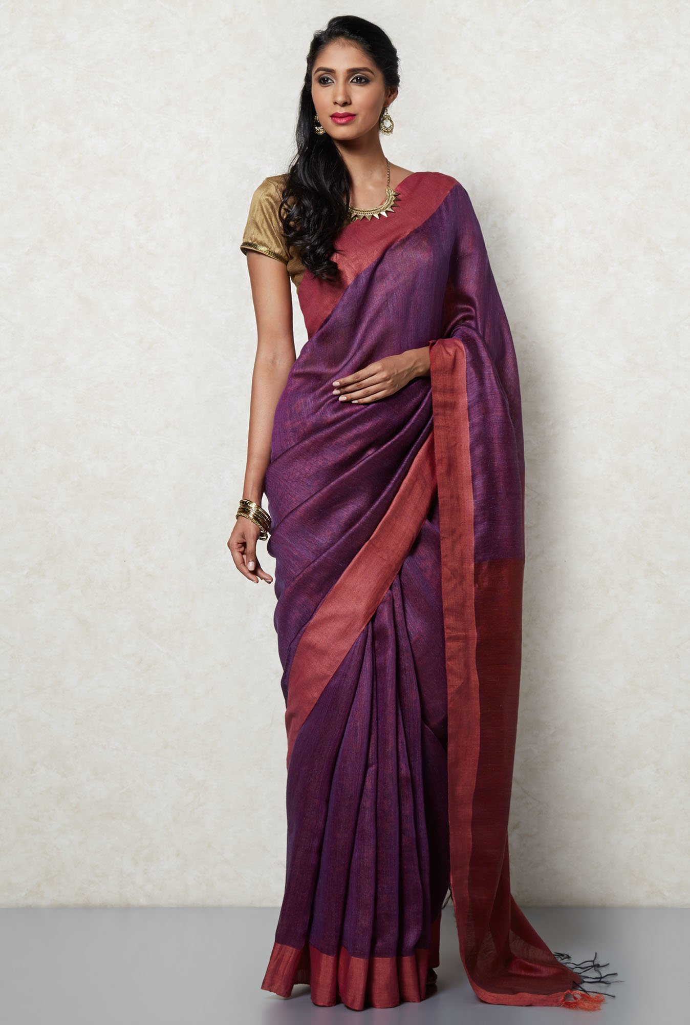 Okhai Purple Tussar Silk Saree