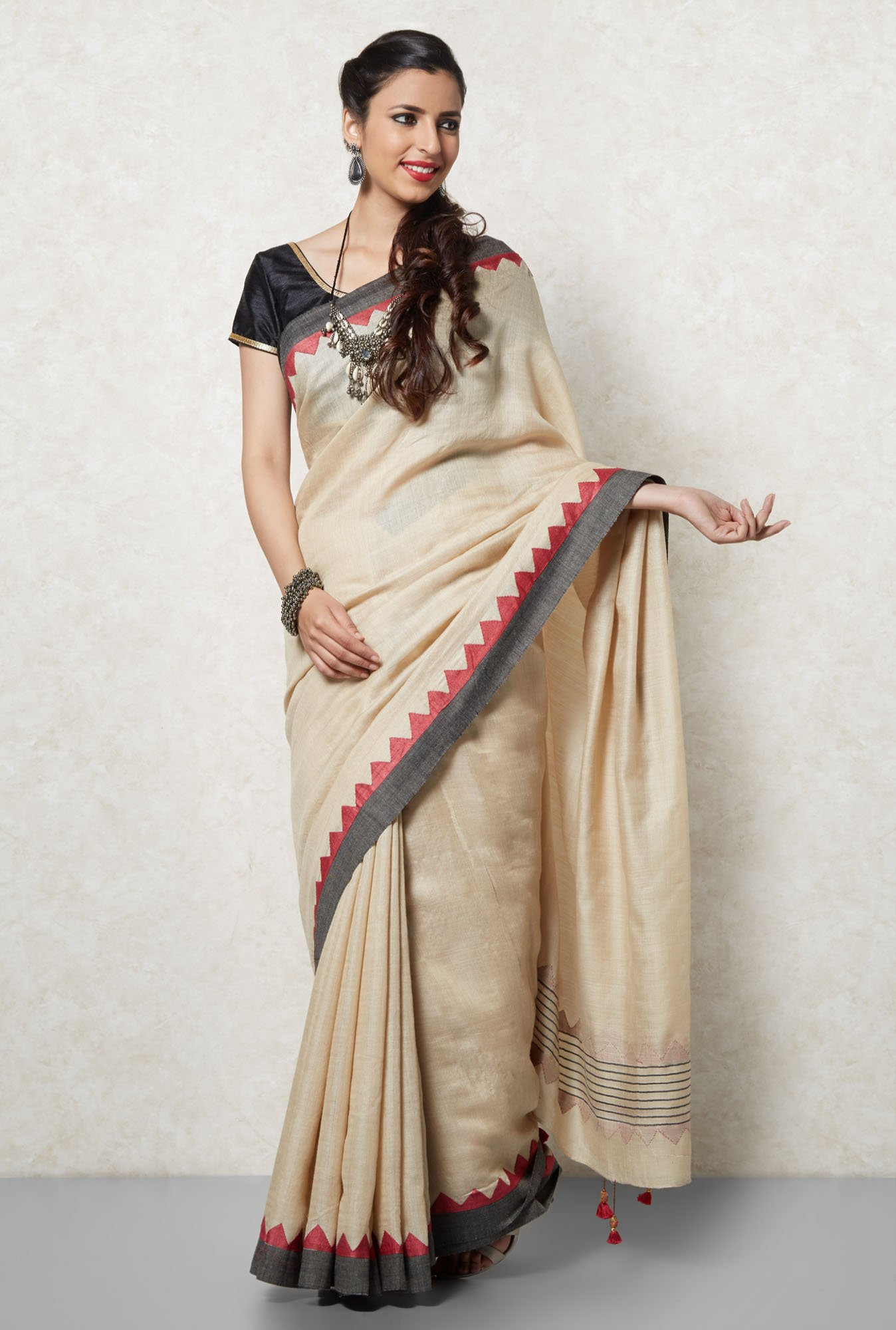 Okhai Beige Moonga Silk Saree