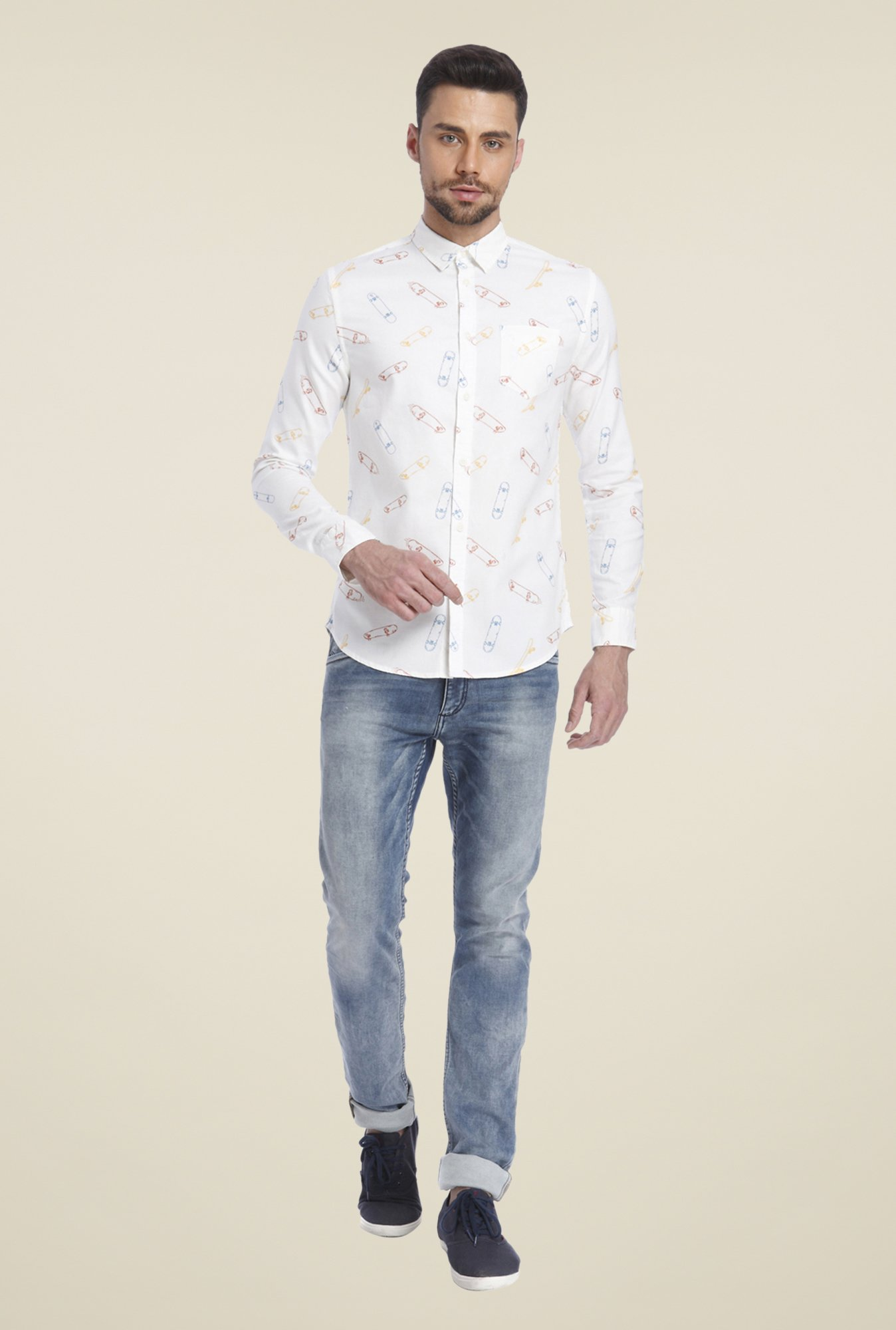 Jack & Jones White Printed Shirt