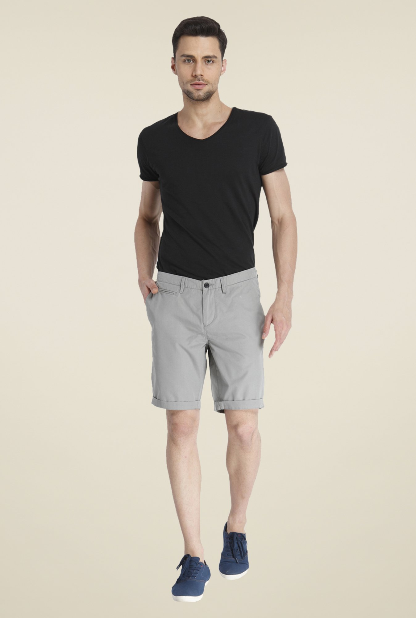 Jack & Jones Grey Solid Shorts