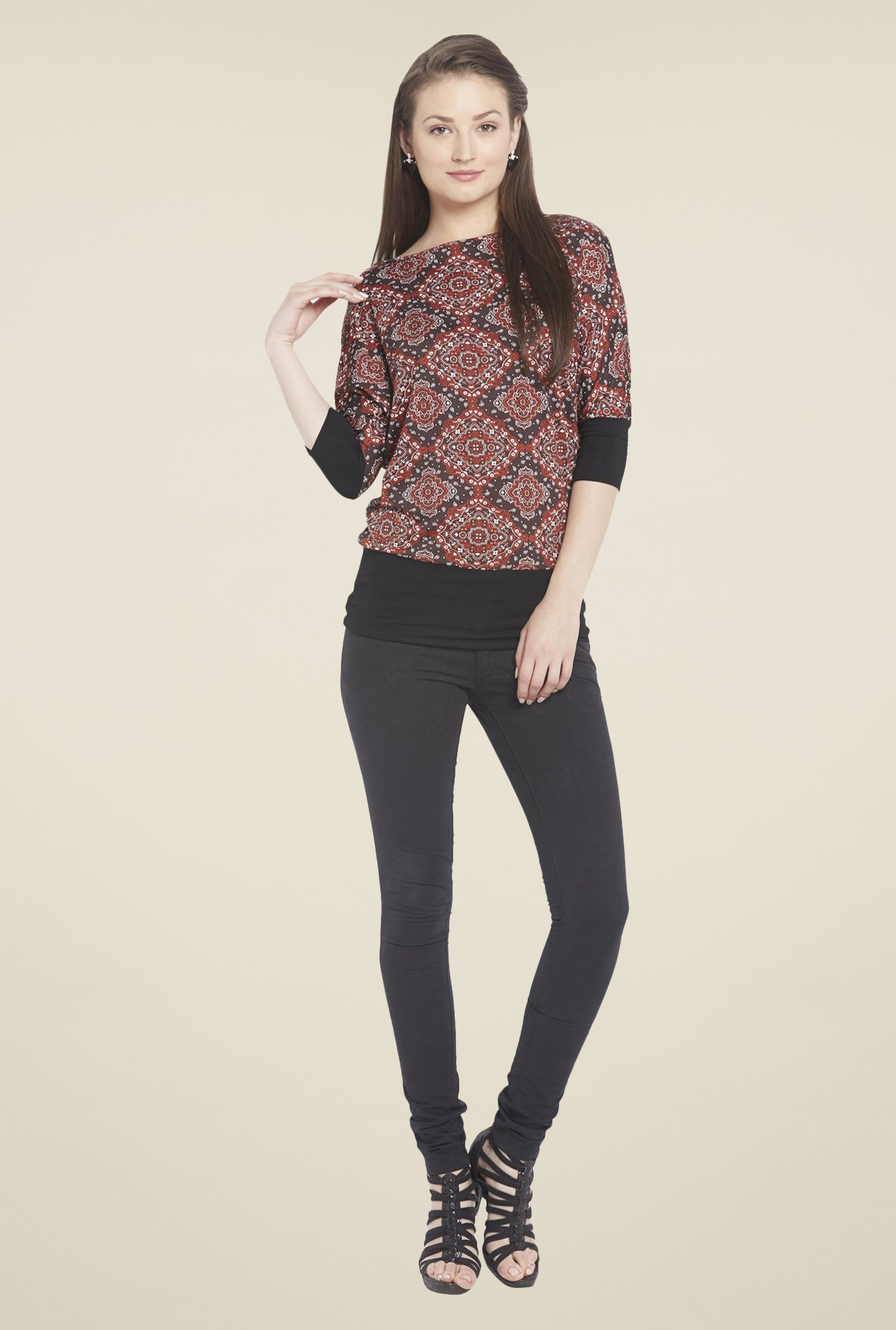 Globus Black Regular Fit Printed Top