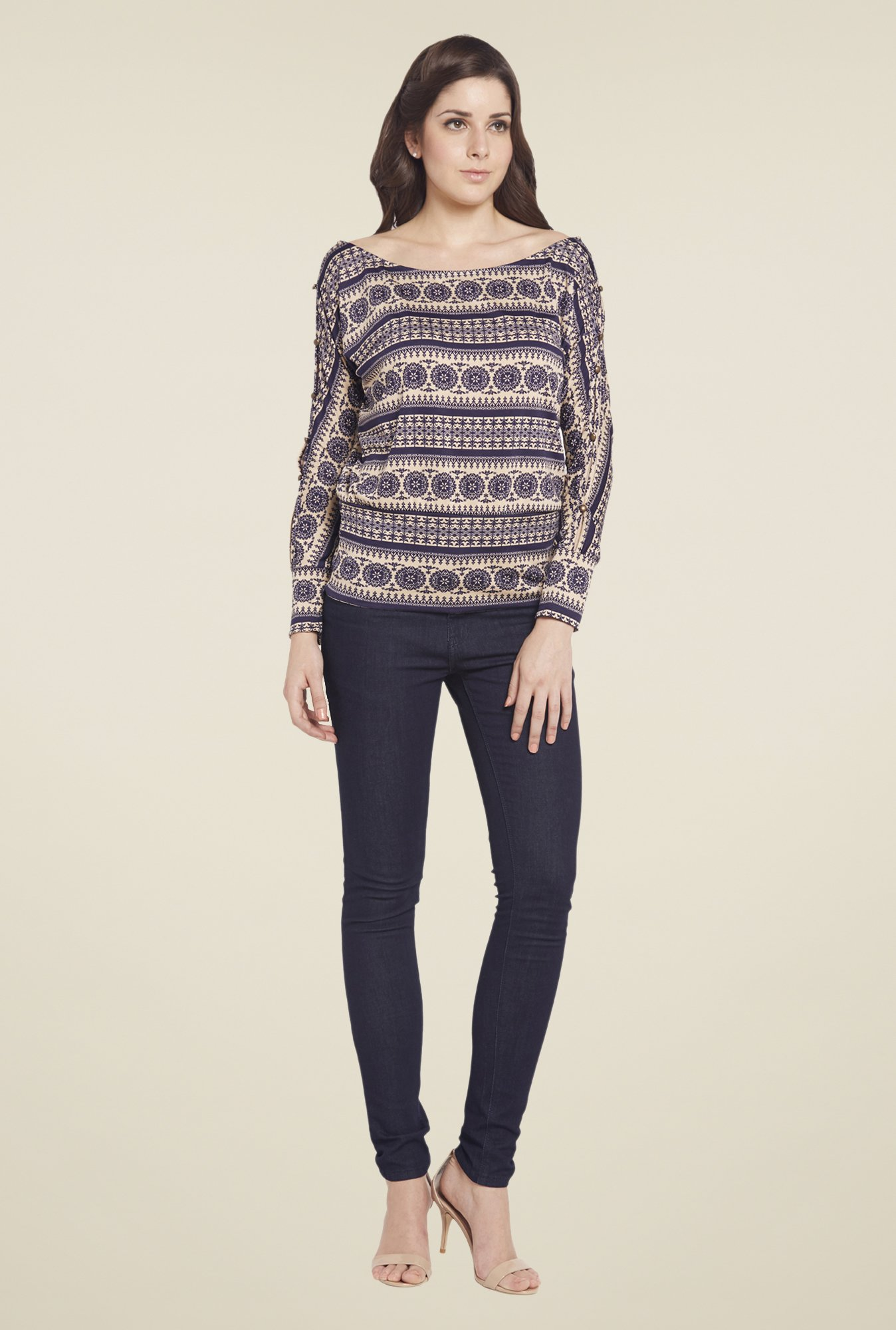 Globus Navy Printed Boat Neck Top