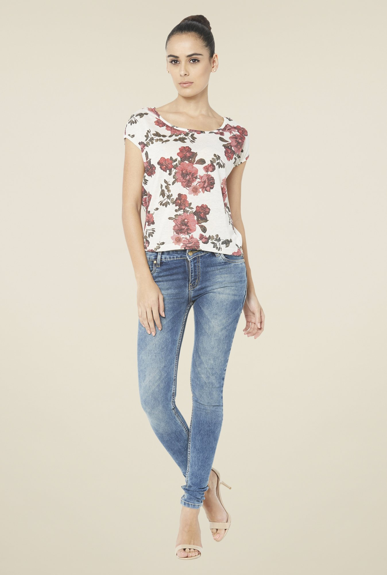 Globus White Floral Printed Short Sleeve Top
