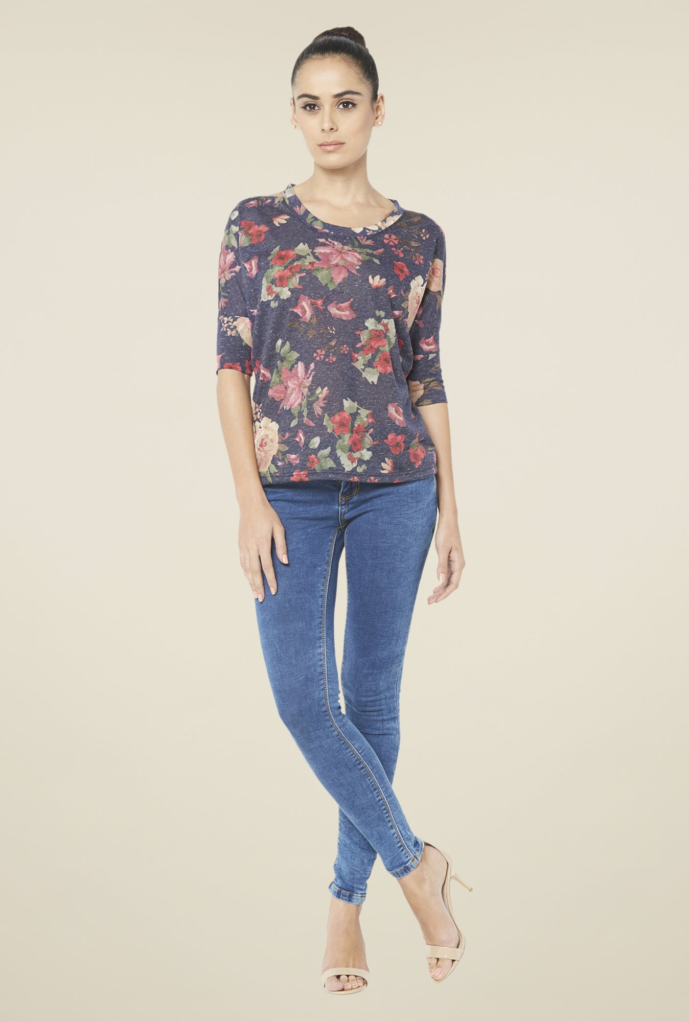 Globus Navy Floral Printed Round Neck Top
