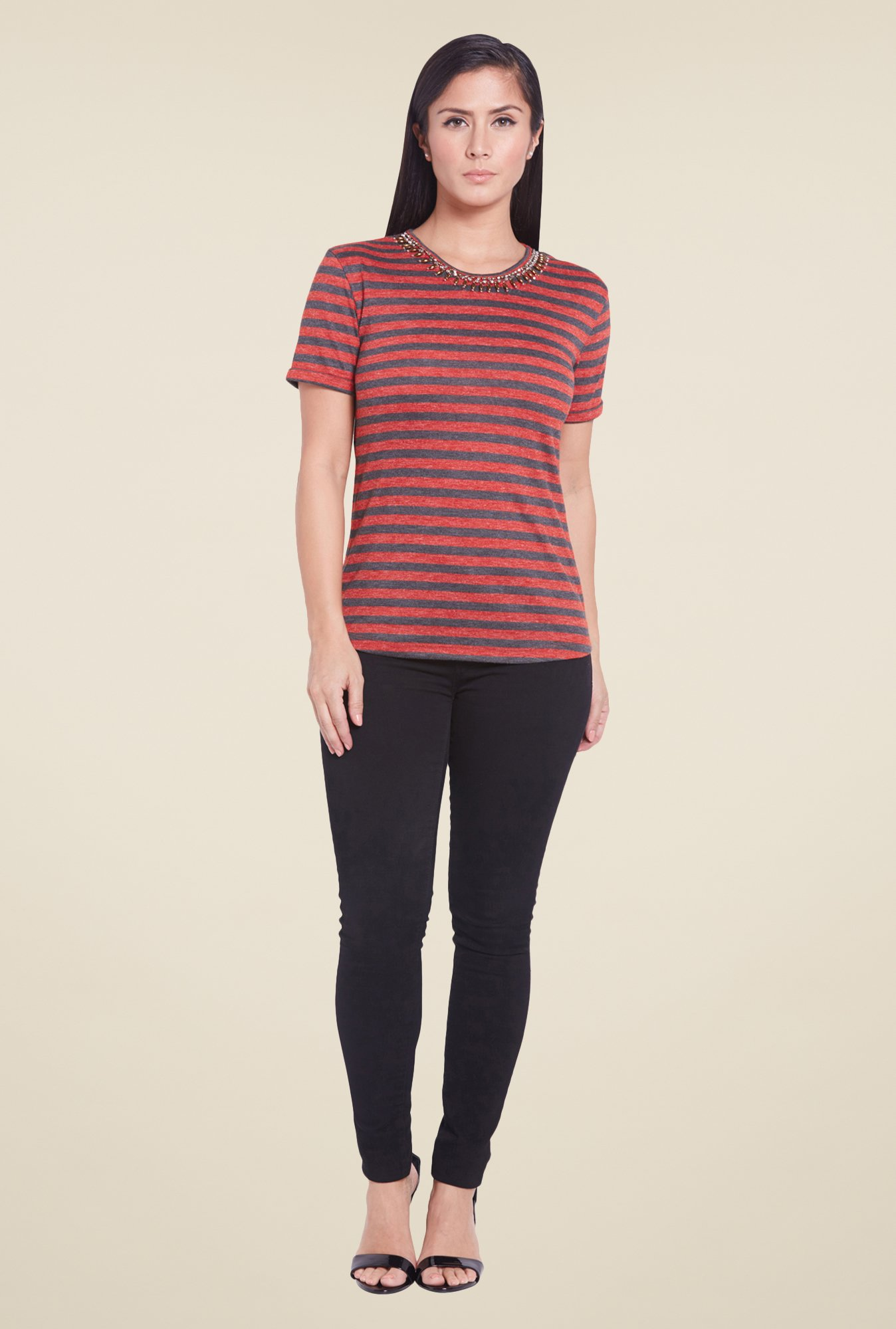 Globus Red Striped Top