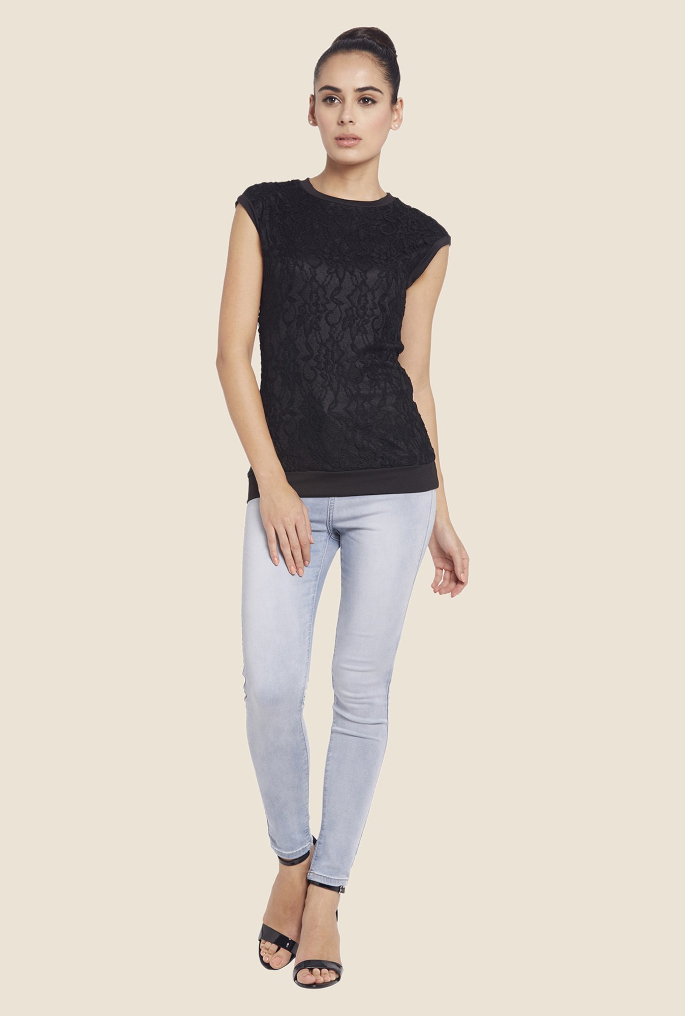 Globus Black Lace Crew Neck Top