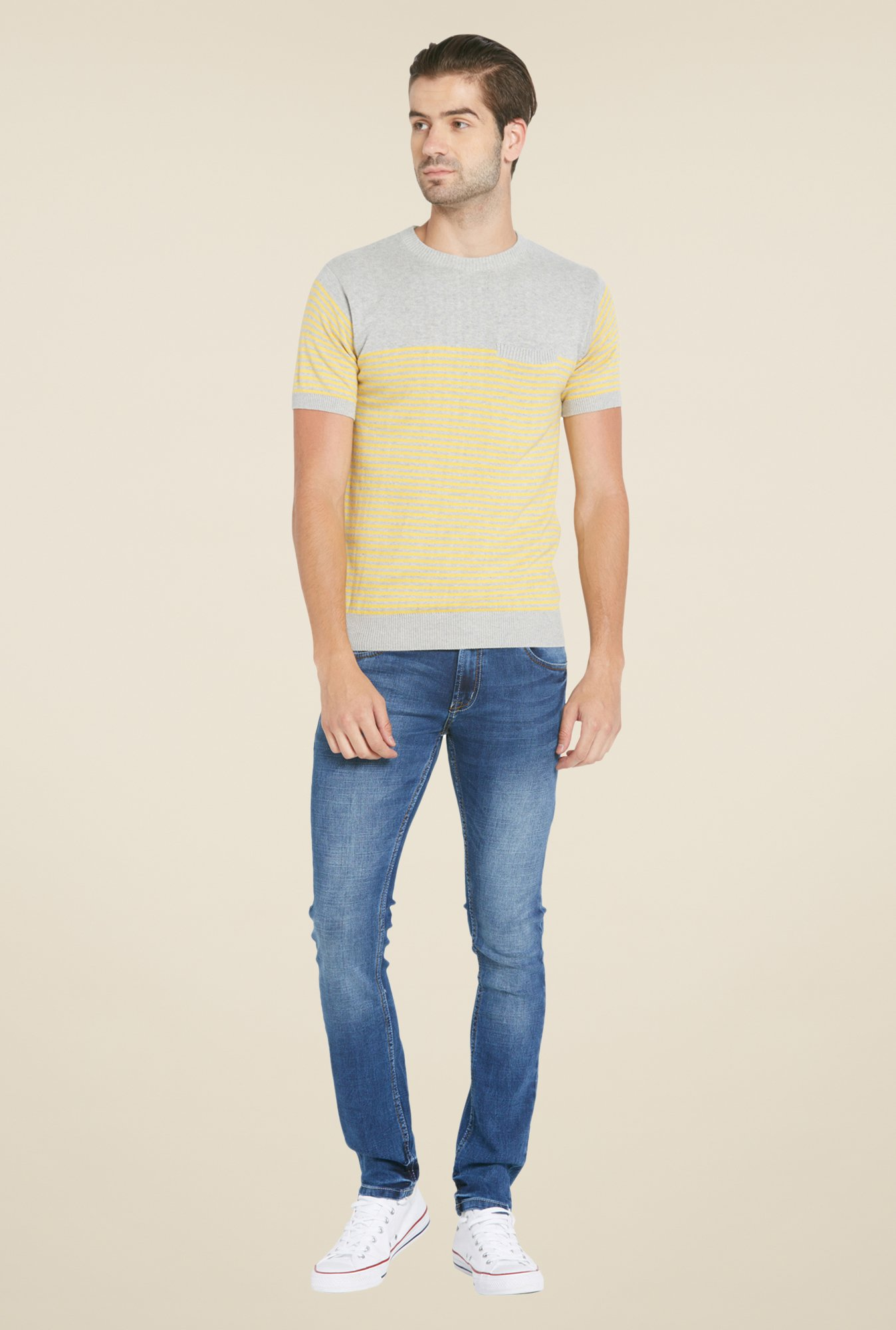 Globus Yellow & Grey Striped T Shirt