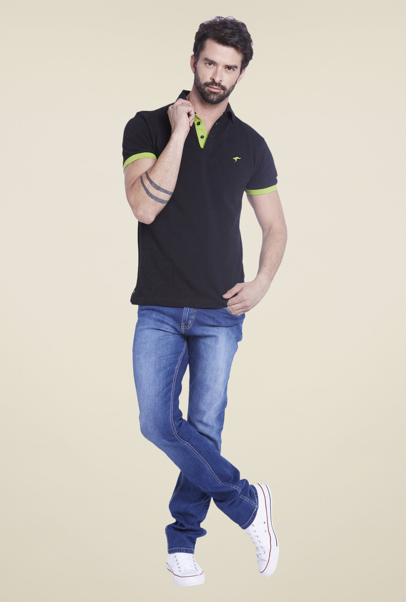 Globus Black Solid Polo T Shirt