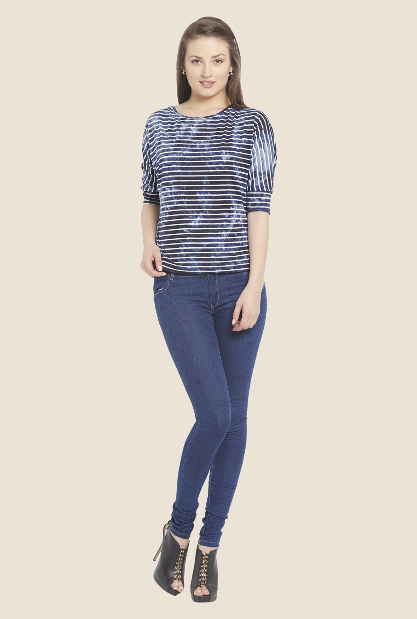Globus Blue Striped Boat Neck Top