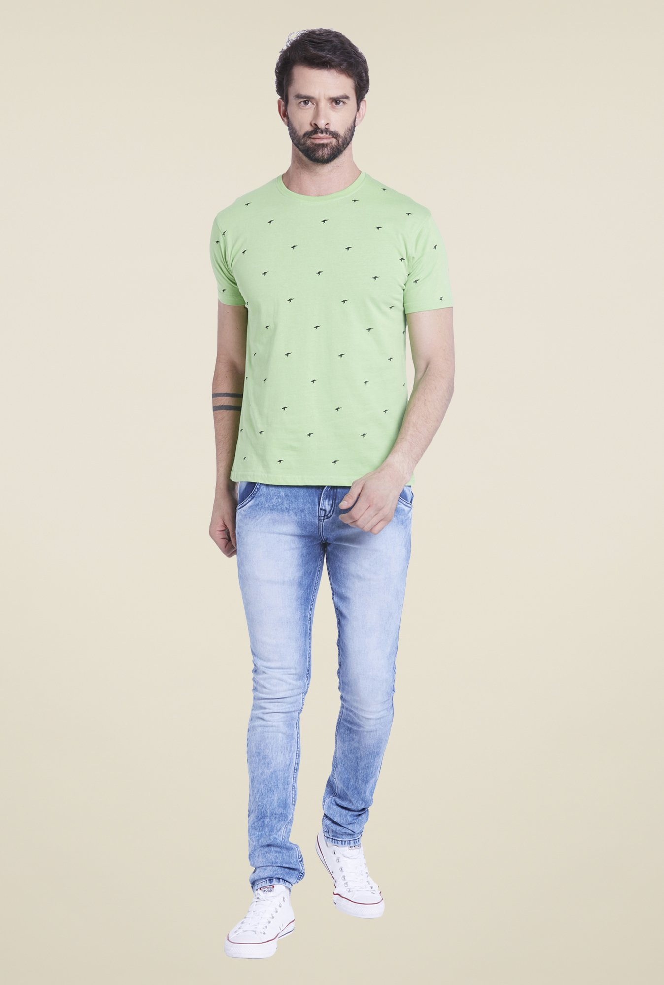 Globus Green Printed T Shirt