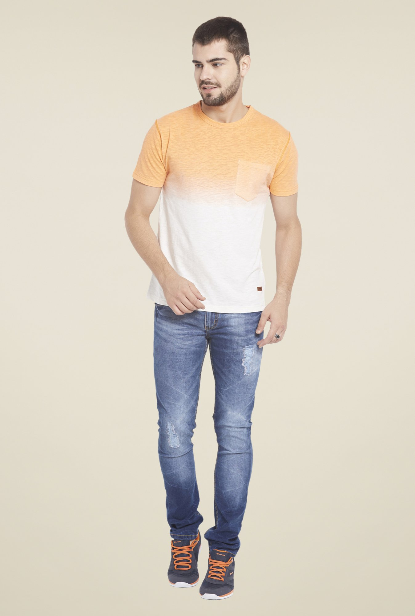 Globus White & Orange Ombre T Shirt