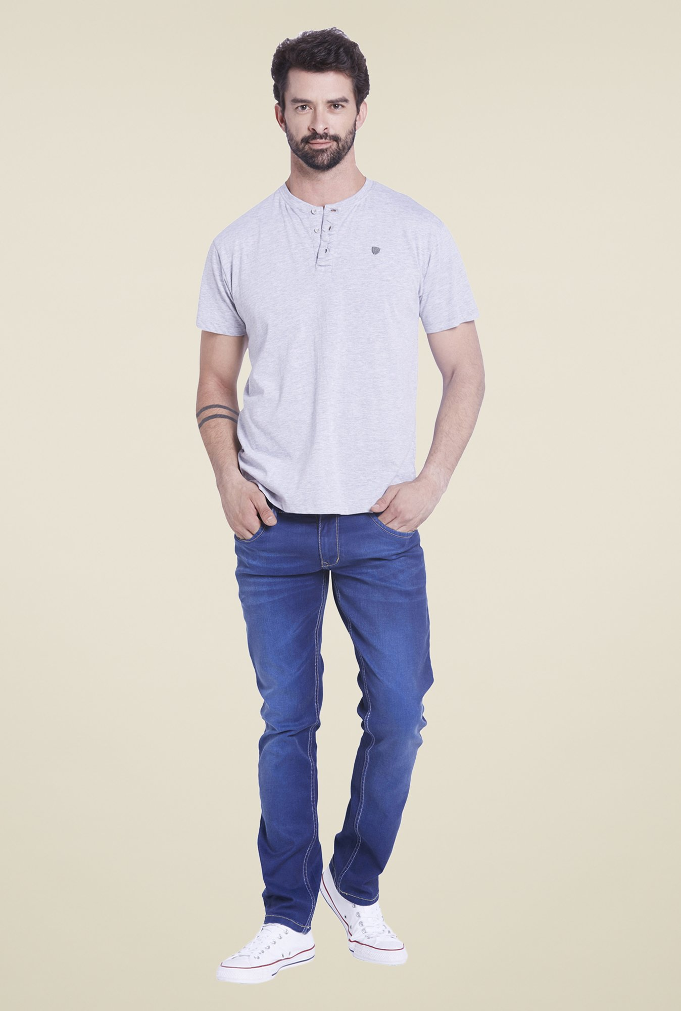 Globus Grey Solid Henley T Shirt
