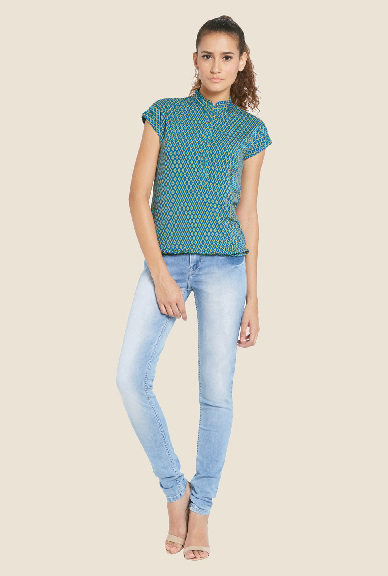 Globus Green Geometric Print Top