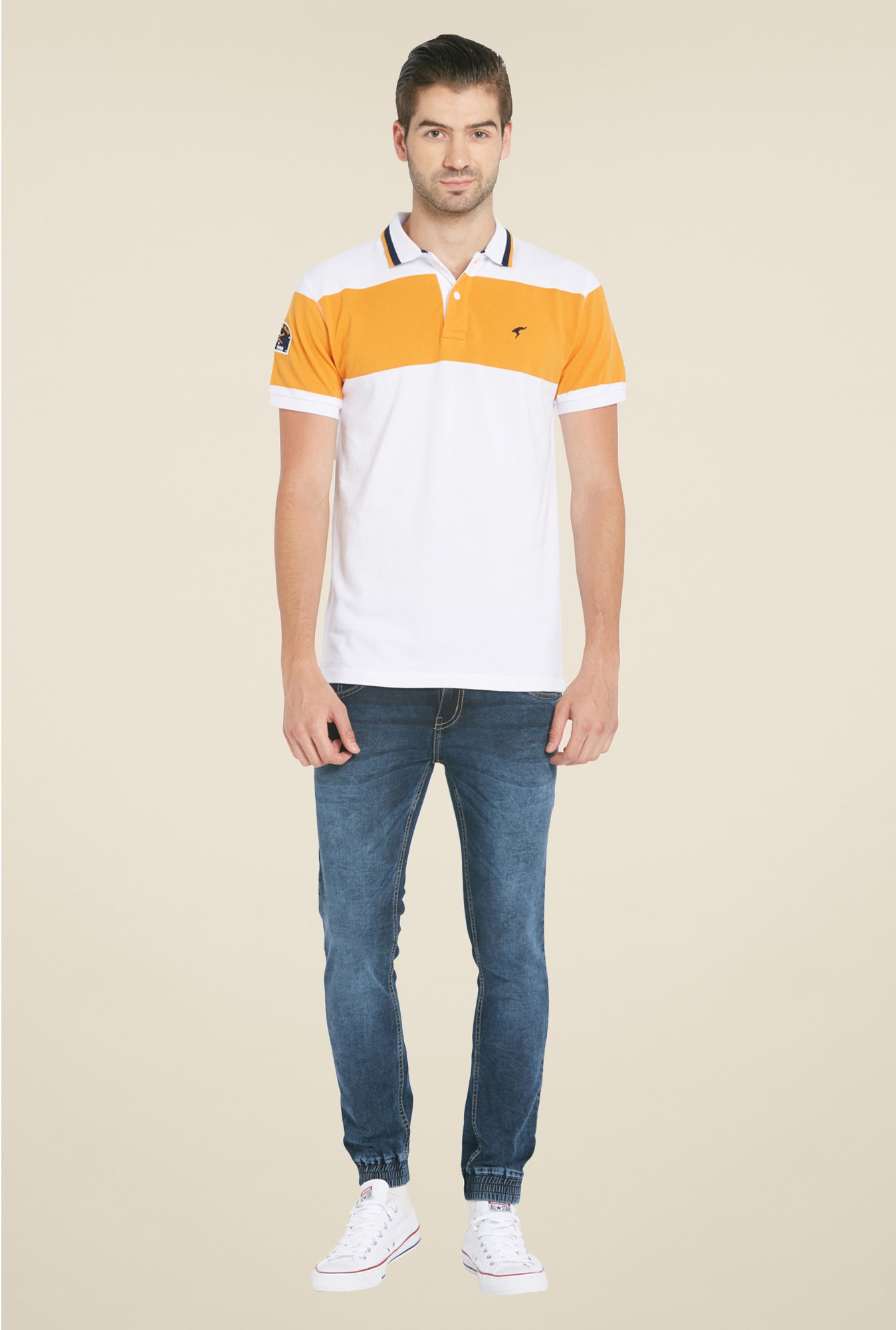 Globus White Solid Polo T Shirt