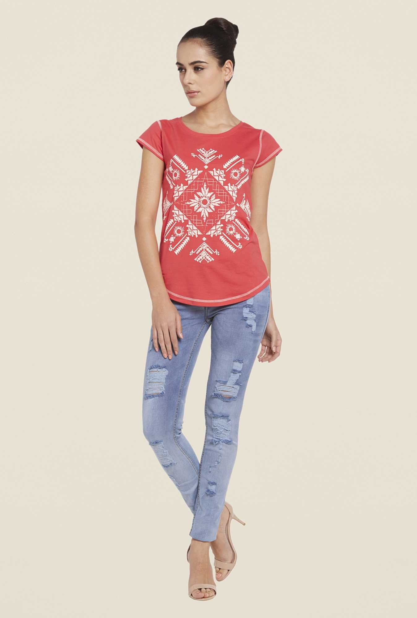 Globus Coral Printed Cotton Top