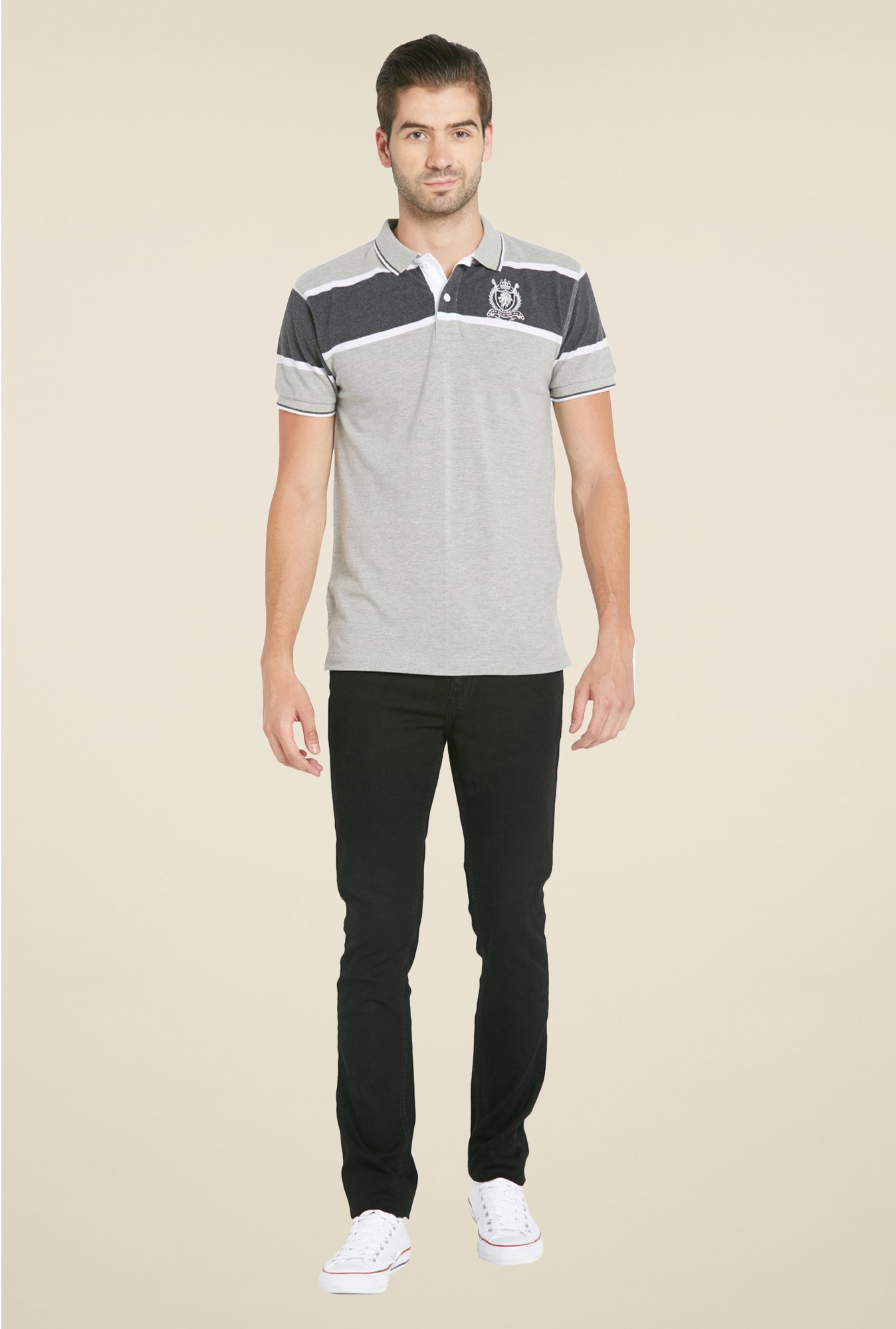 Globus Grey Solid Polo T Shirt