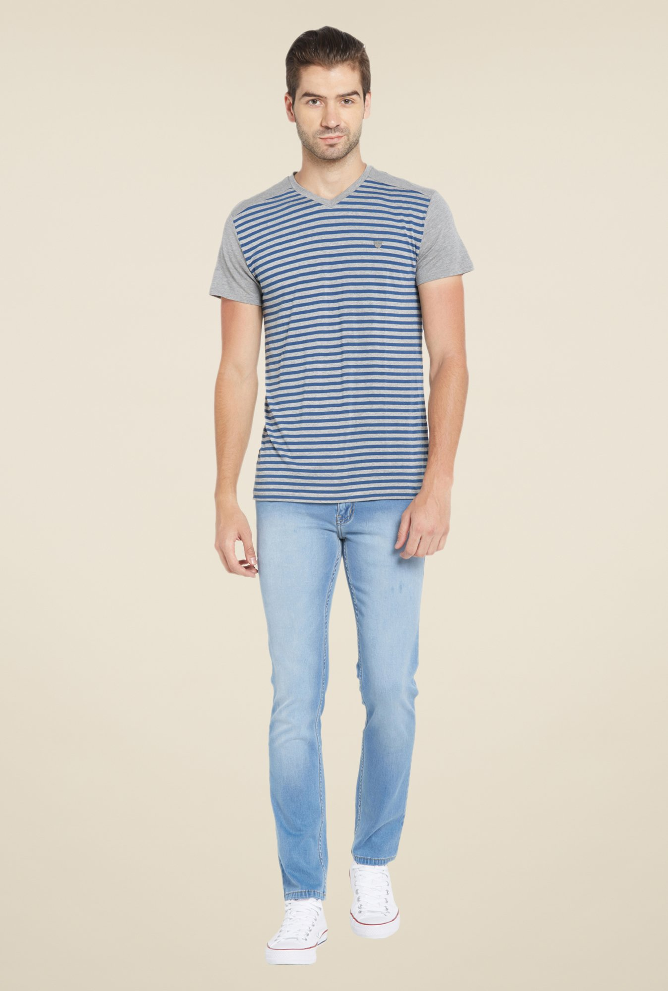 Globus Grey & Blue Striped T Shirt