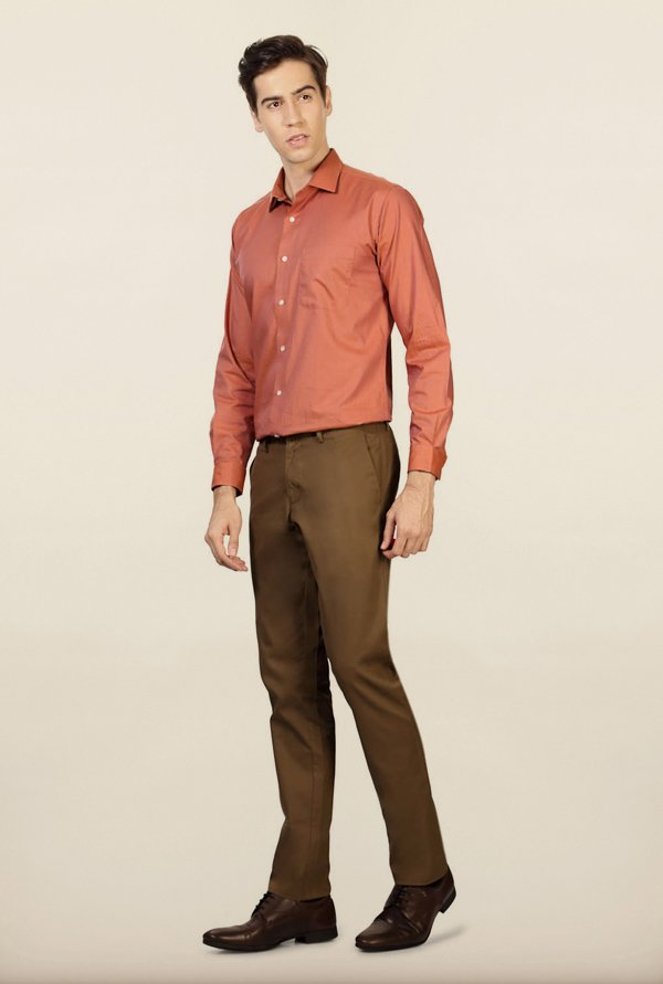 Allen Solly Khaki Solid Formal Trouser
