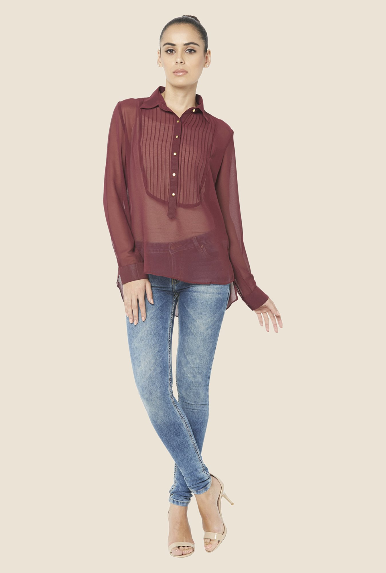 Globus Maroon Solid Sheer Top