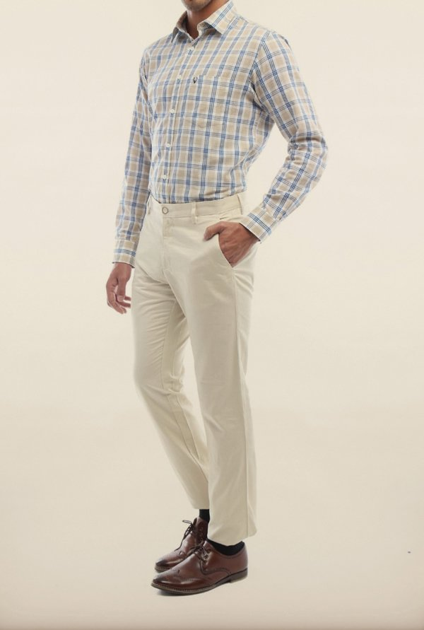 Allen Solly White Solid Formal Trouser