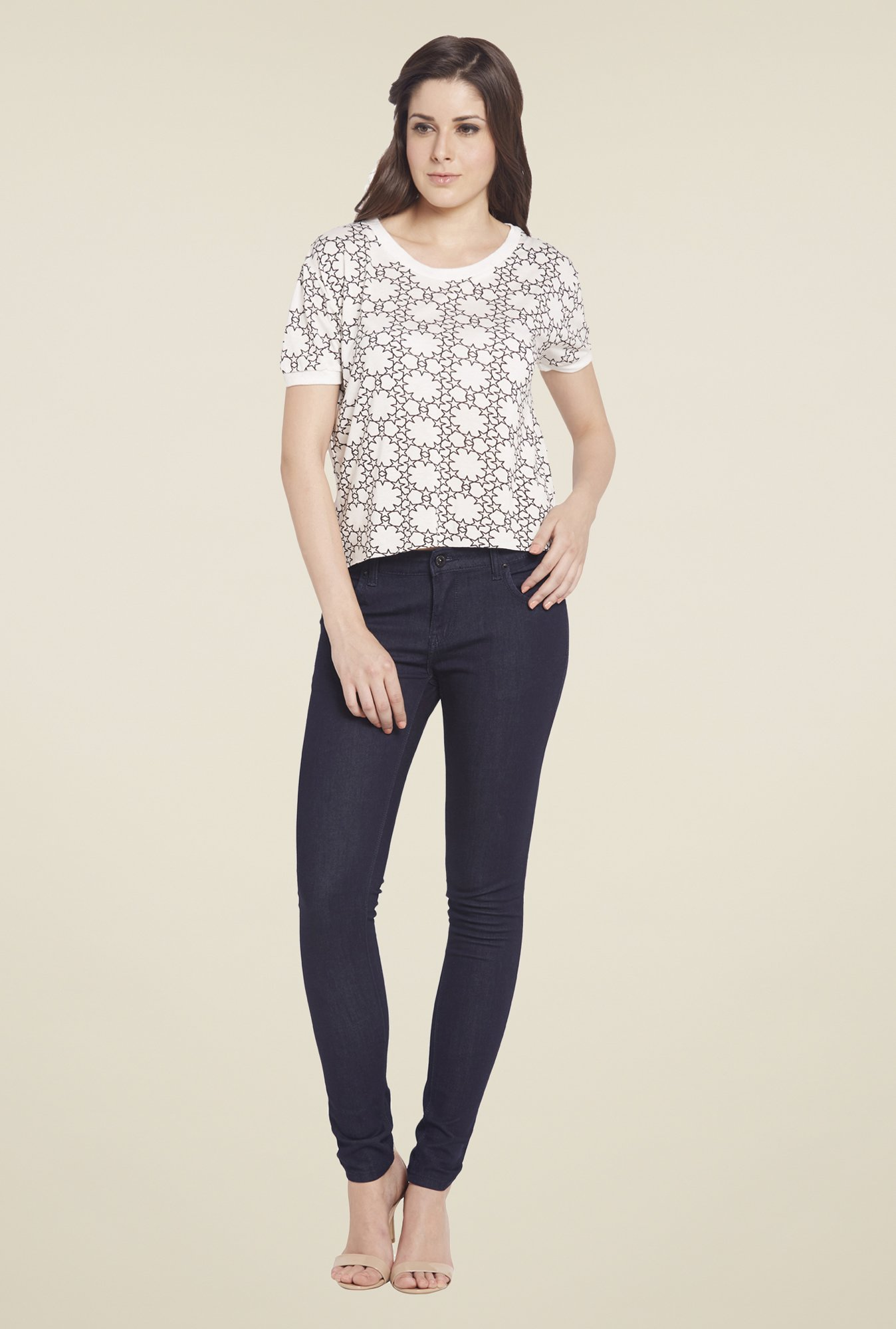 Globus White Printed Short Sleeve Top