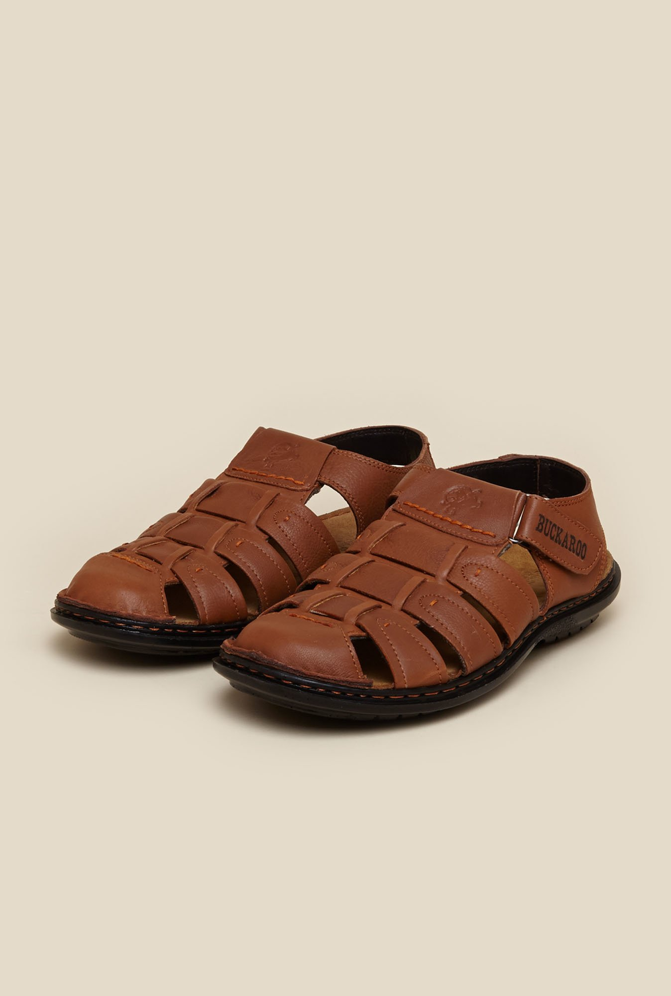 Buckaroo Solomon Tan Pull-up Leather Sandals