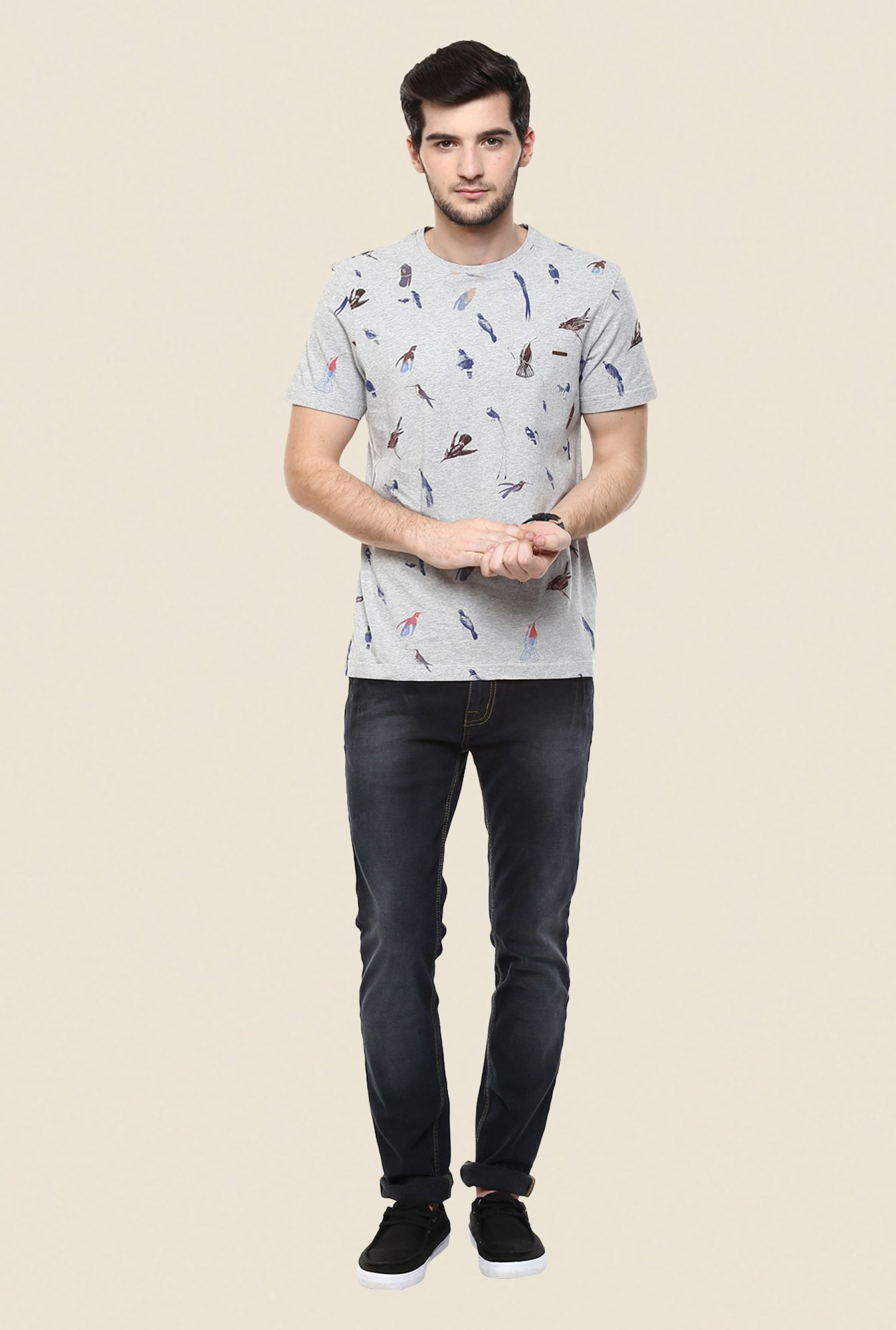 Turtle Grey Printed T Shirt